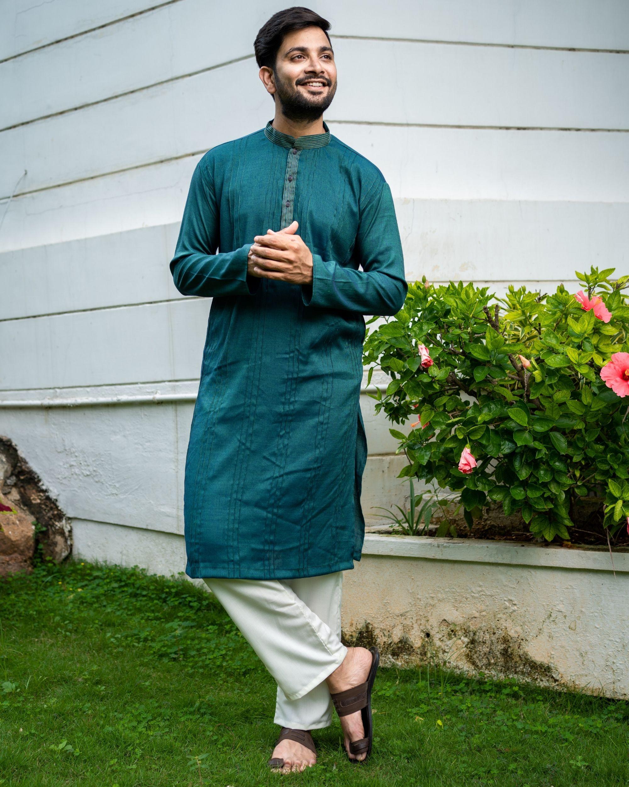 Teal green striped cotton kurta
