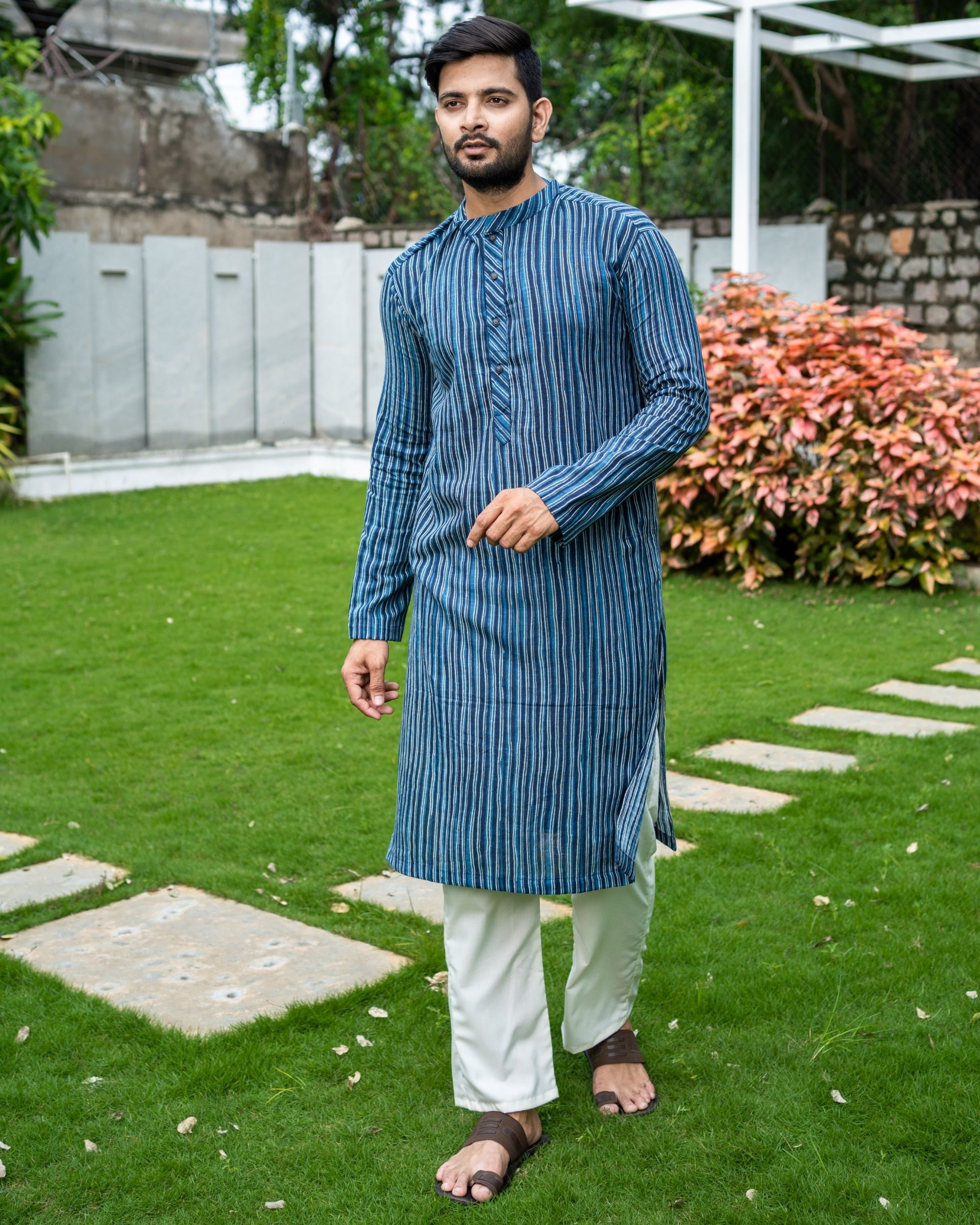 Blue striped cotton kurta