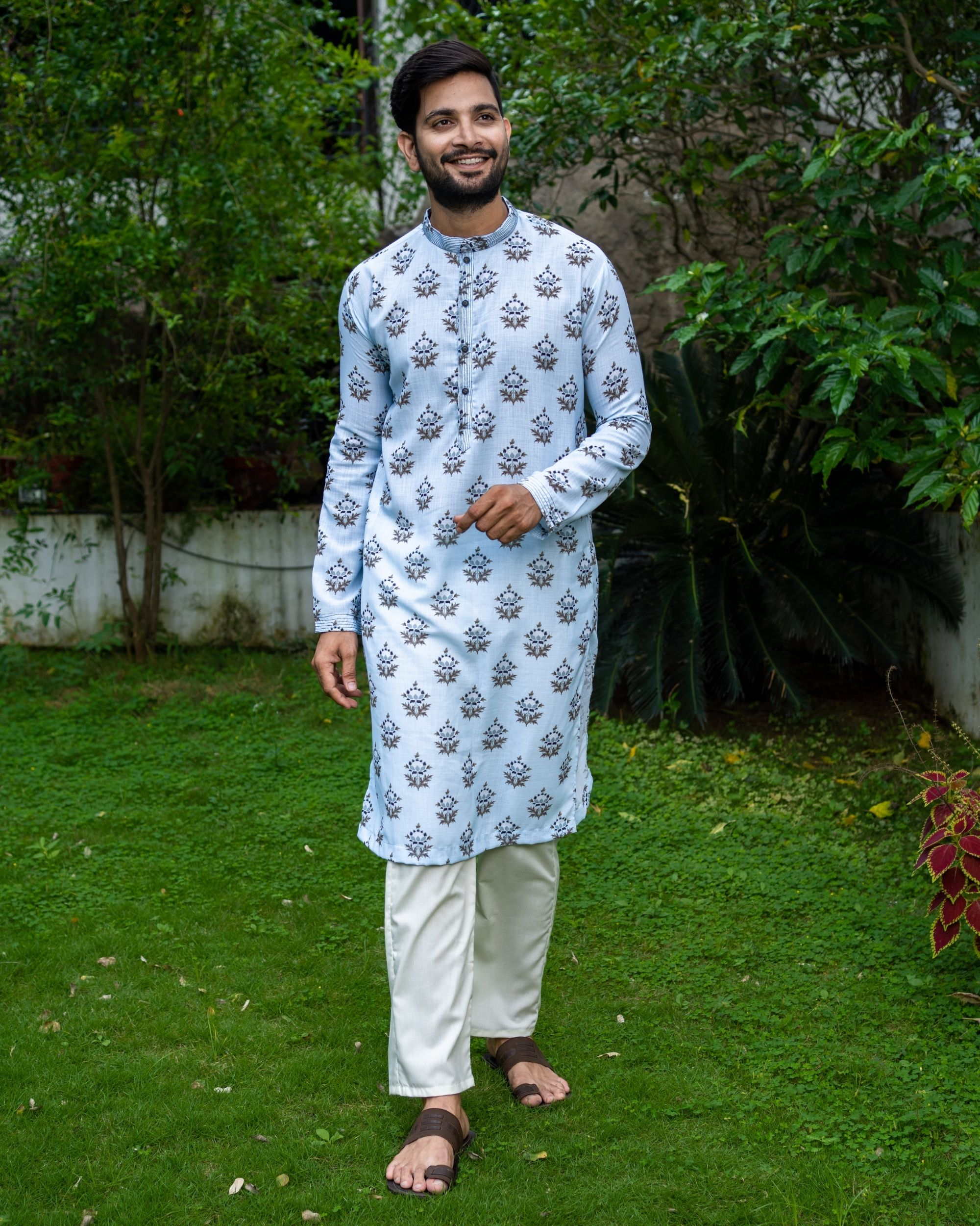 Light blue boota printed kurta
