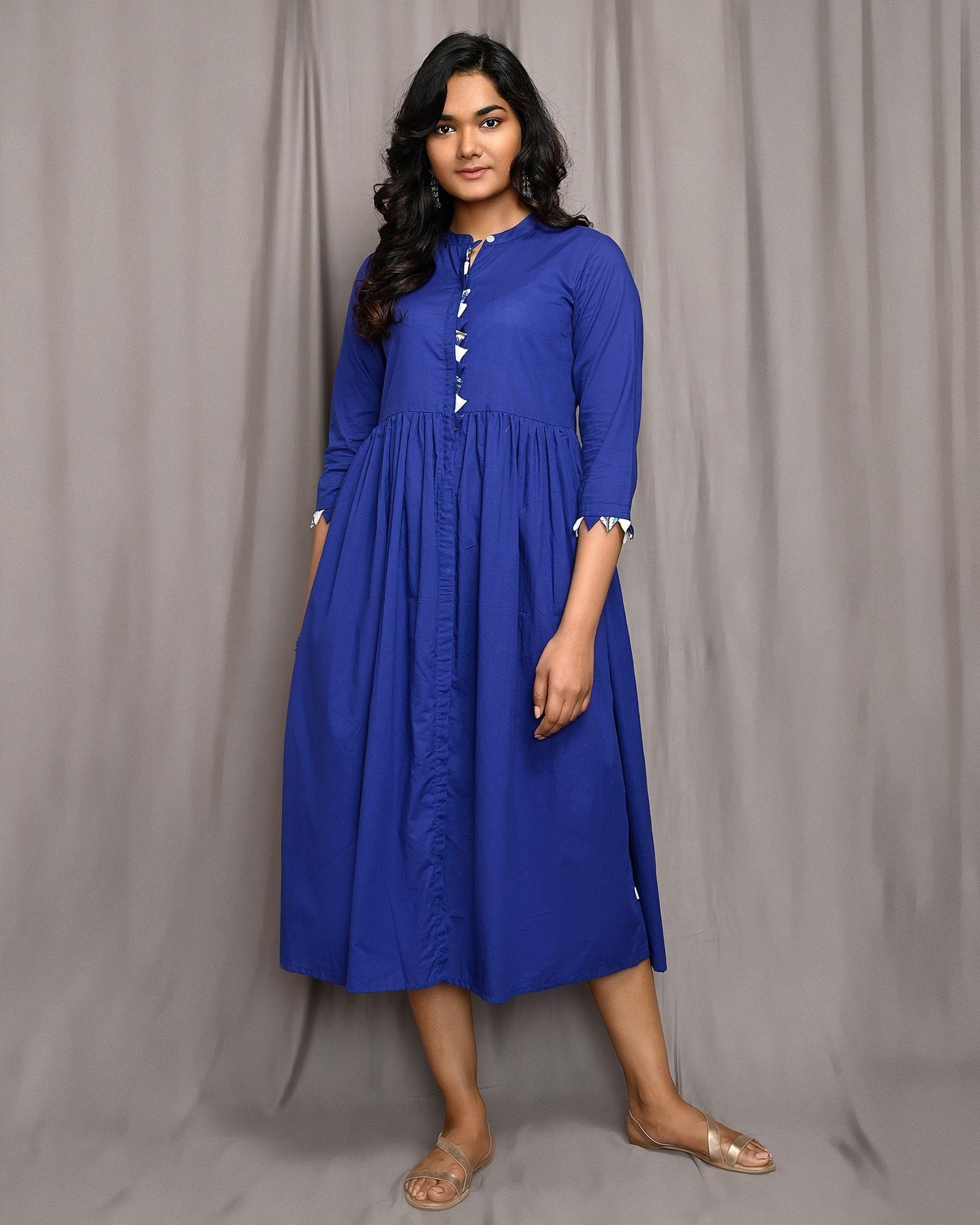Royal blue gathered mandarin dress
