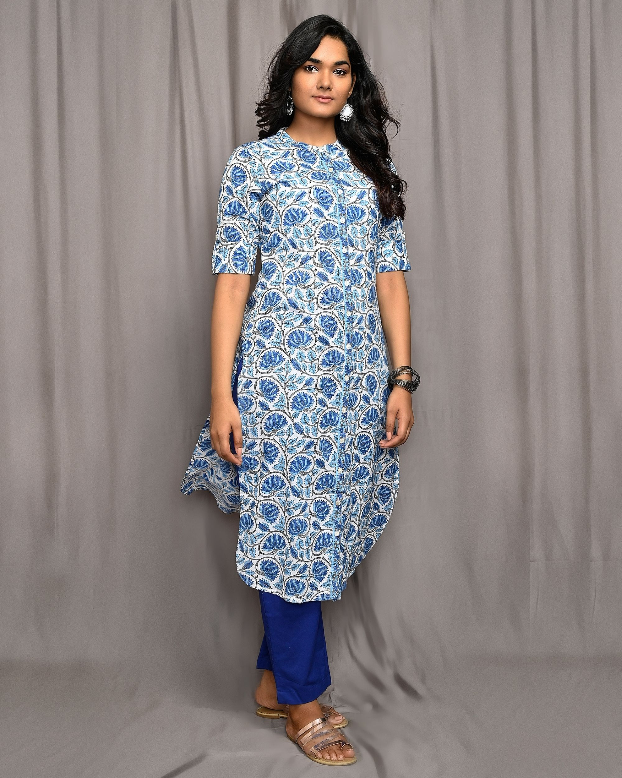 Blue and white floral jaal button down kurta