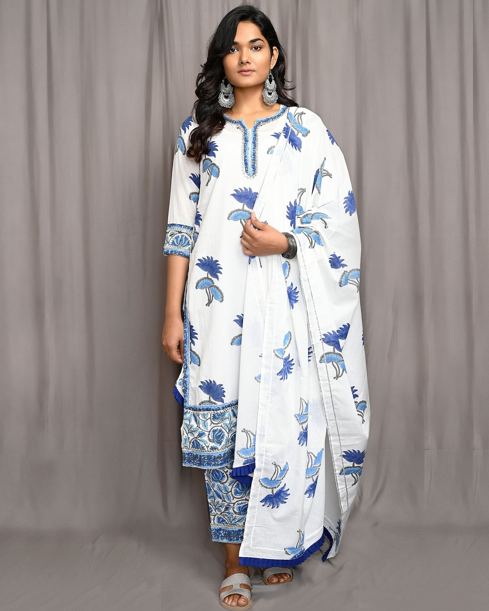 White and blue floral hand block printed dupatta