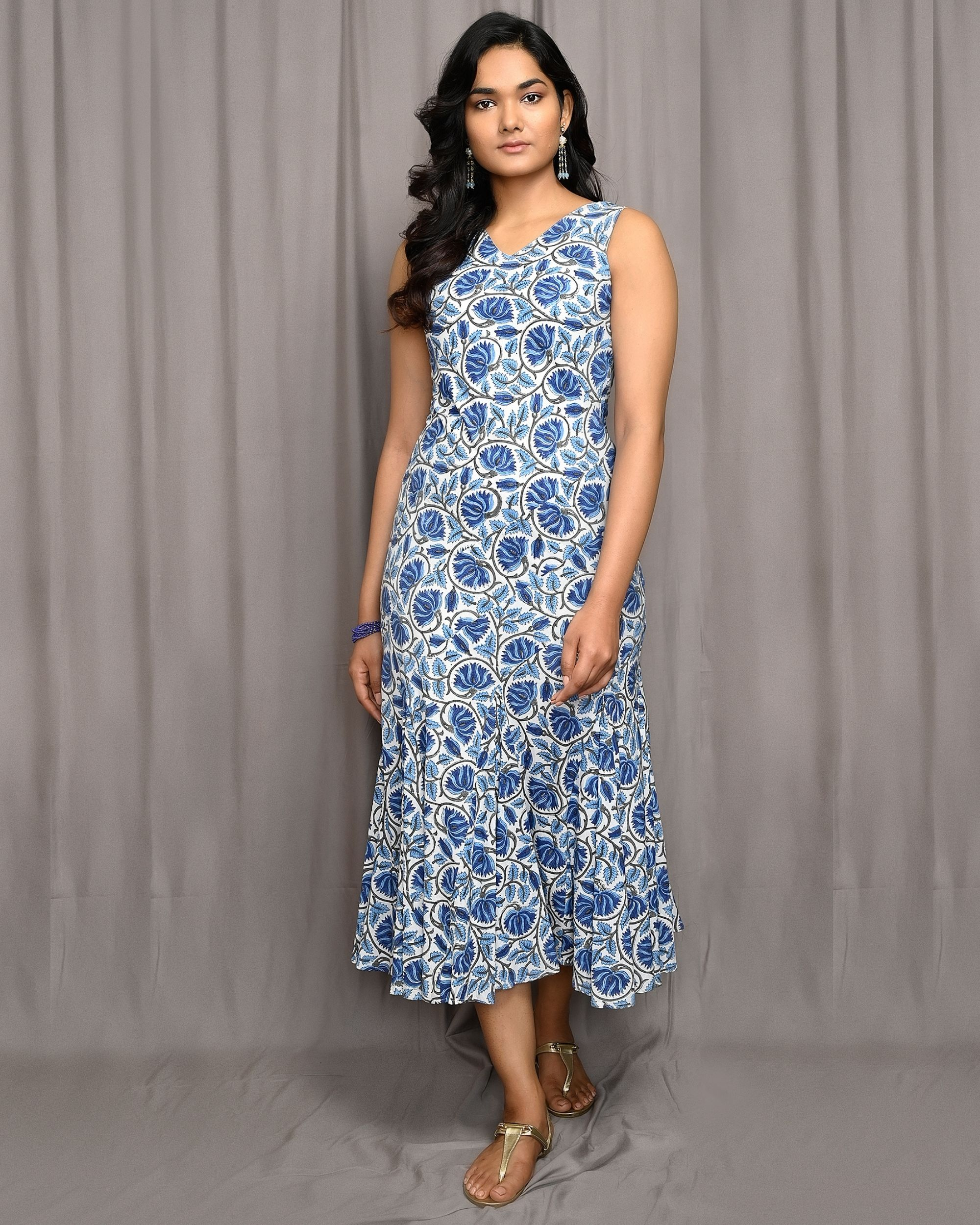 Blue floral jaal block printed flared dress