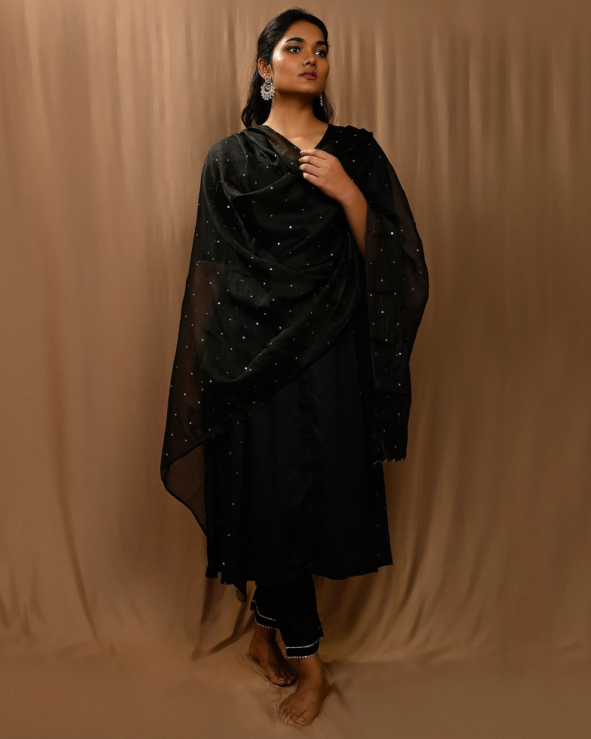 Black paneled gota anarkali kurta and pants with scalloped dupatta - Set Of Three