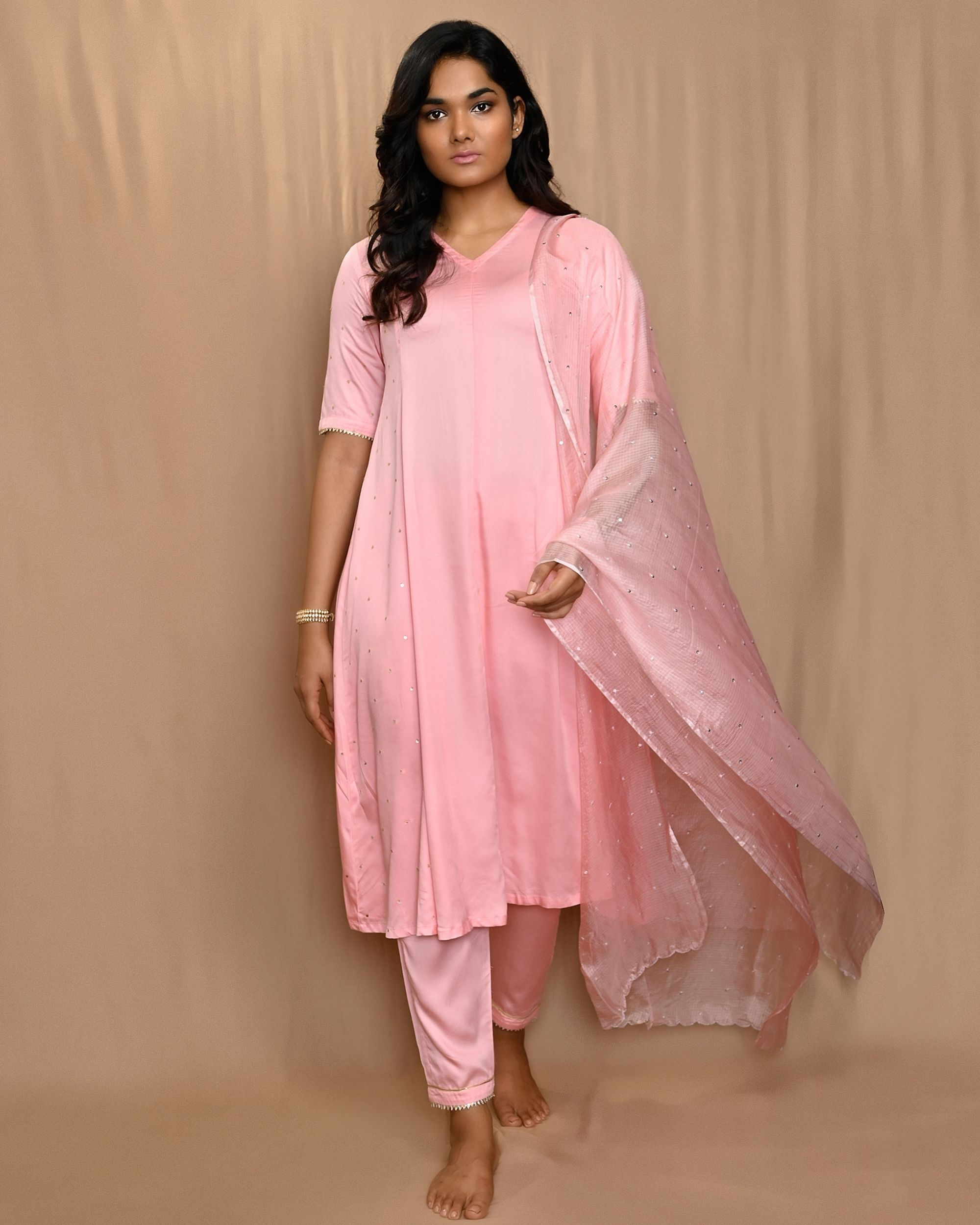 Baby pink paneled gota anarkali kurta and pants with dupatta - Set Of Three