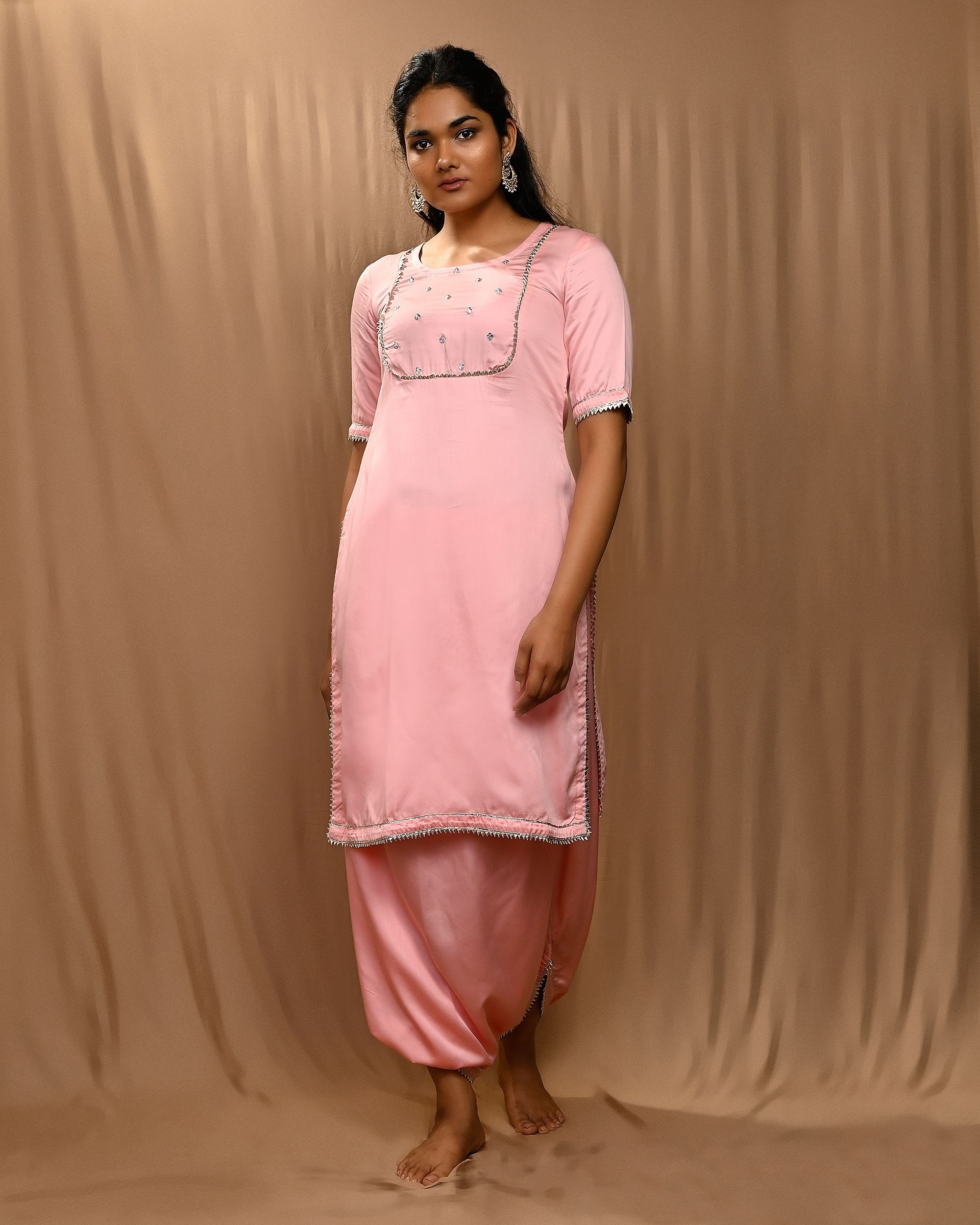 Baby pink embroidered yoke kurta with cowl pants - Set Of Two