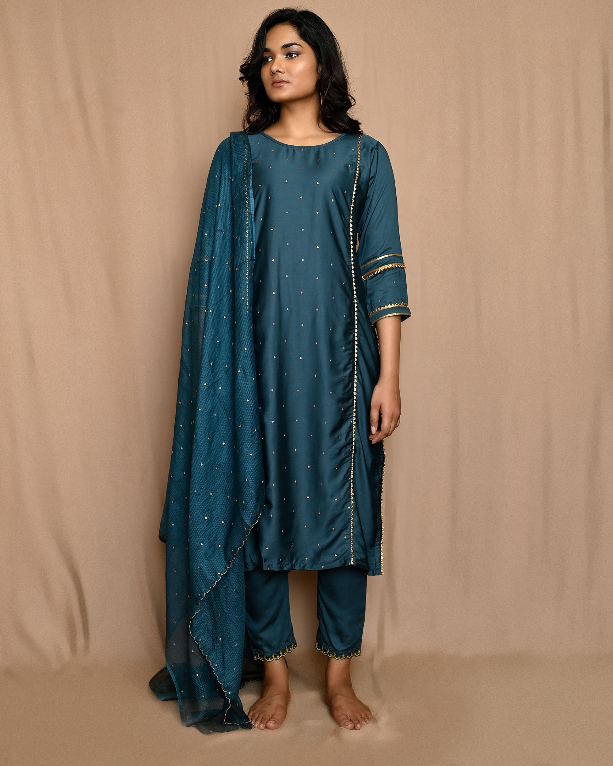 Teal green embroidered gota kurta with pants and dupatta - Set Of Three