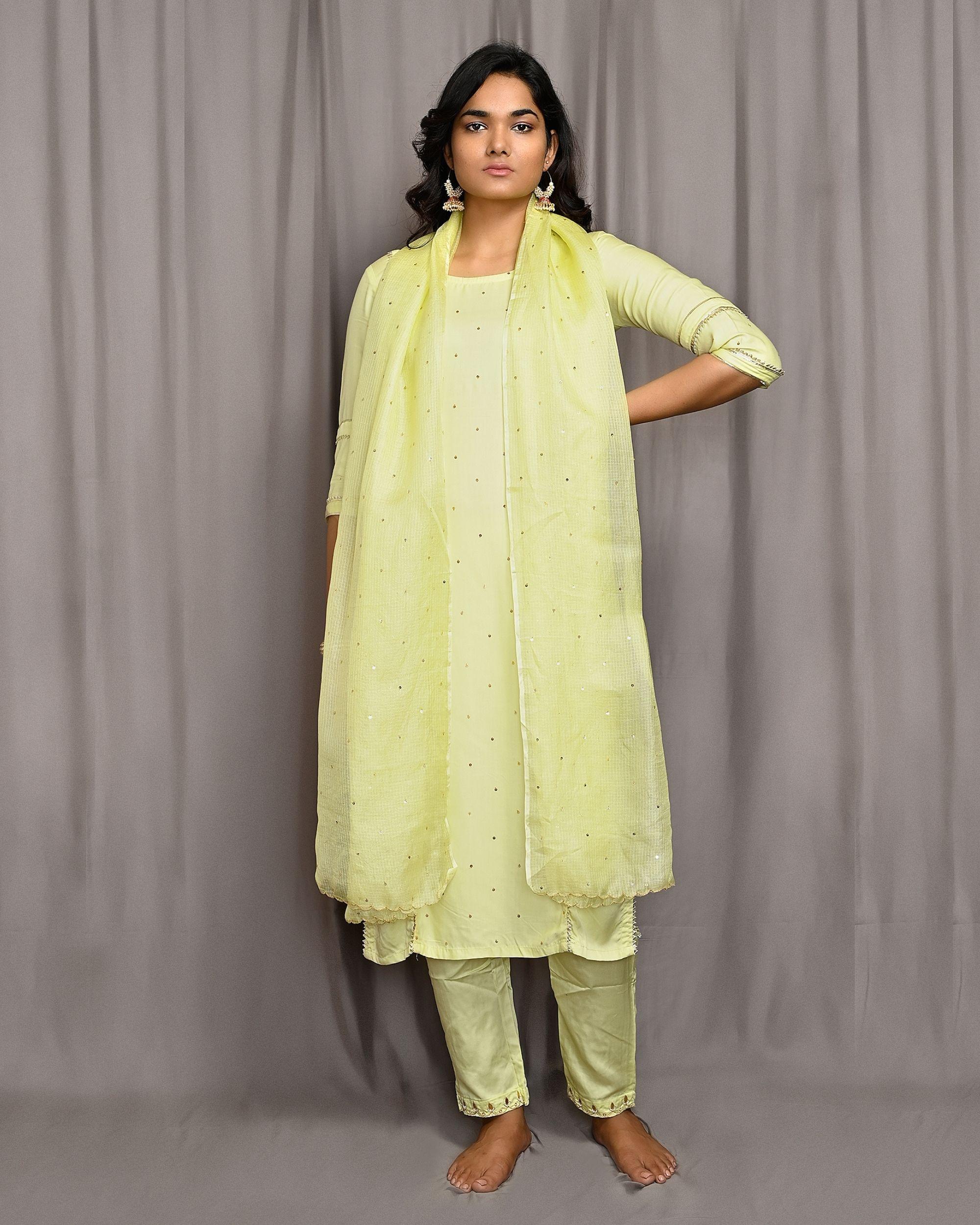 Lemon yellow embroidered gota kurta with pants and dupatta - Set Of Three