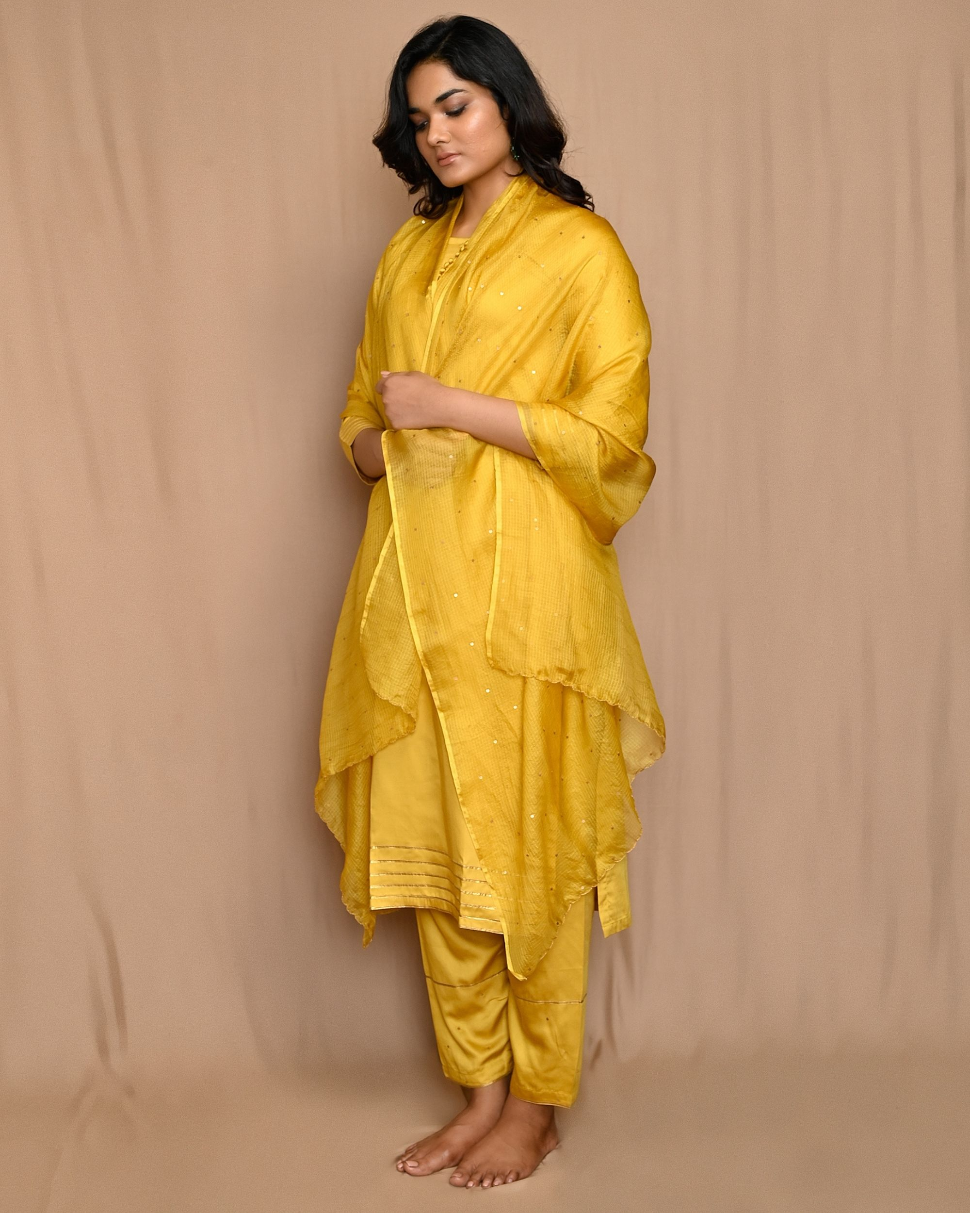 Yellow gota work sequined kurta and pants with scalloped dupatta - Set Of Three