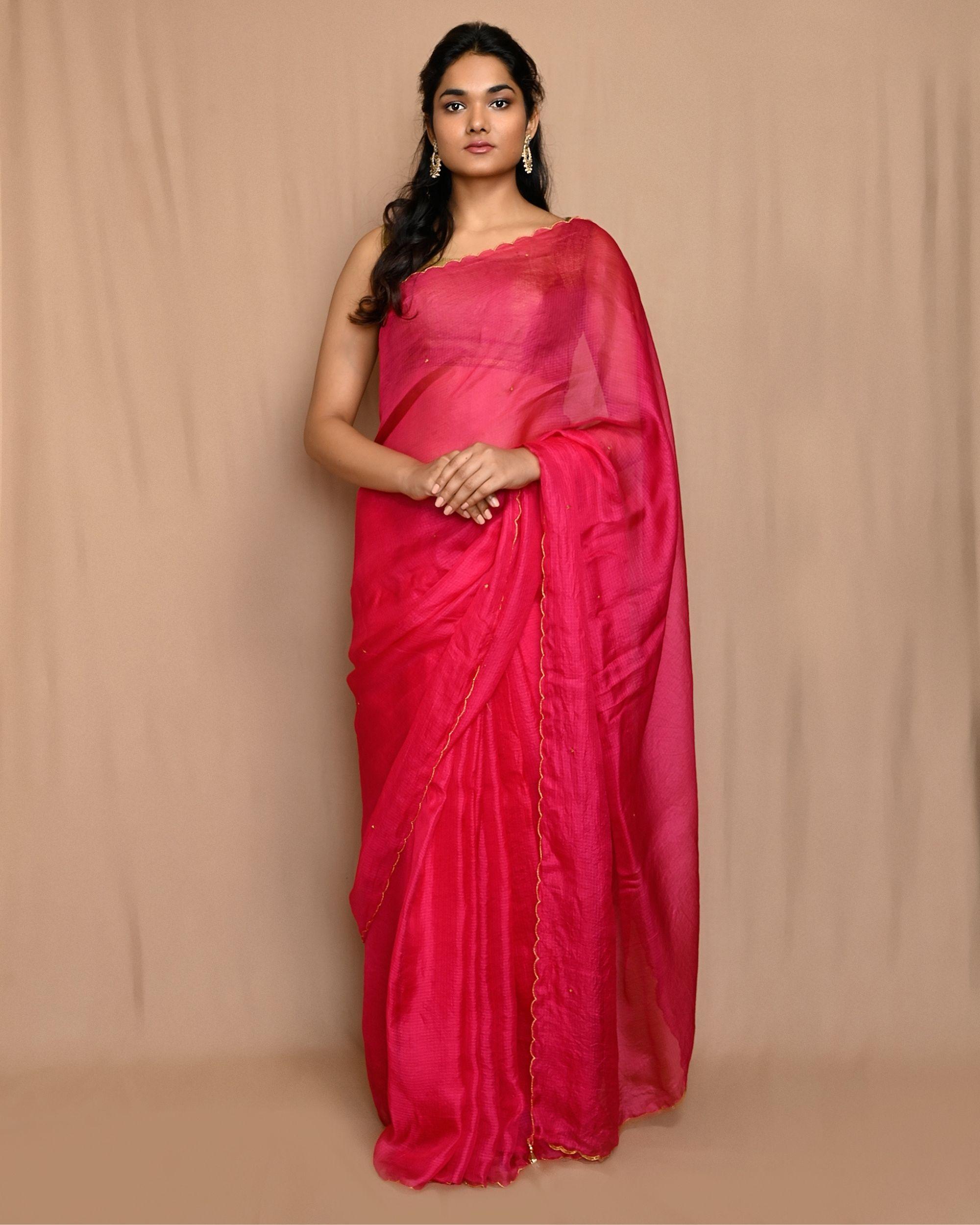 Rani pink embroidered kota silk scalloped sari