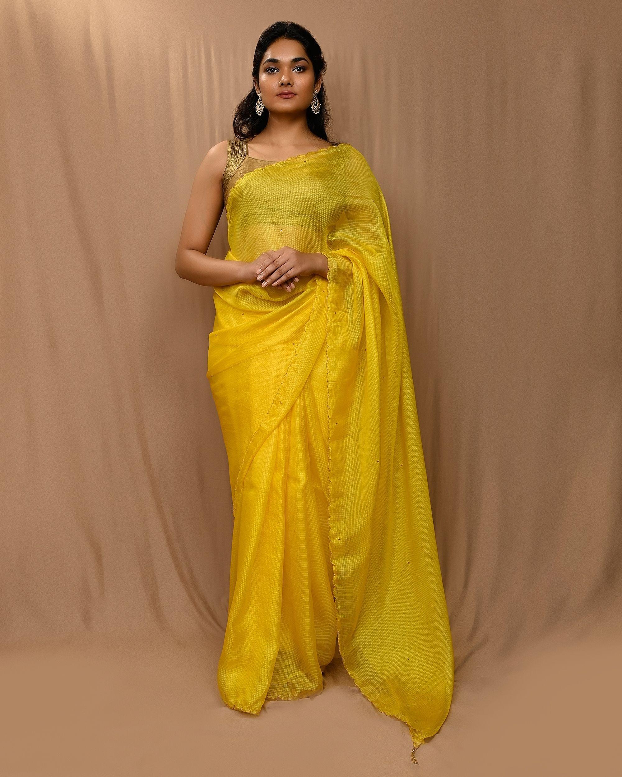 Yellow embroidered kota silk scalloped sari