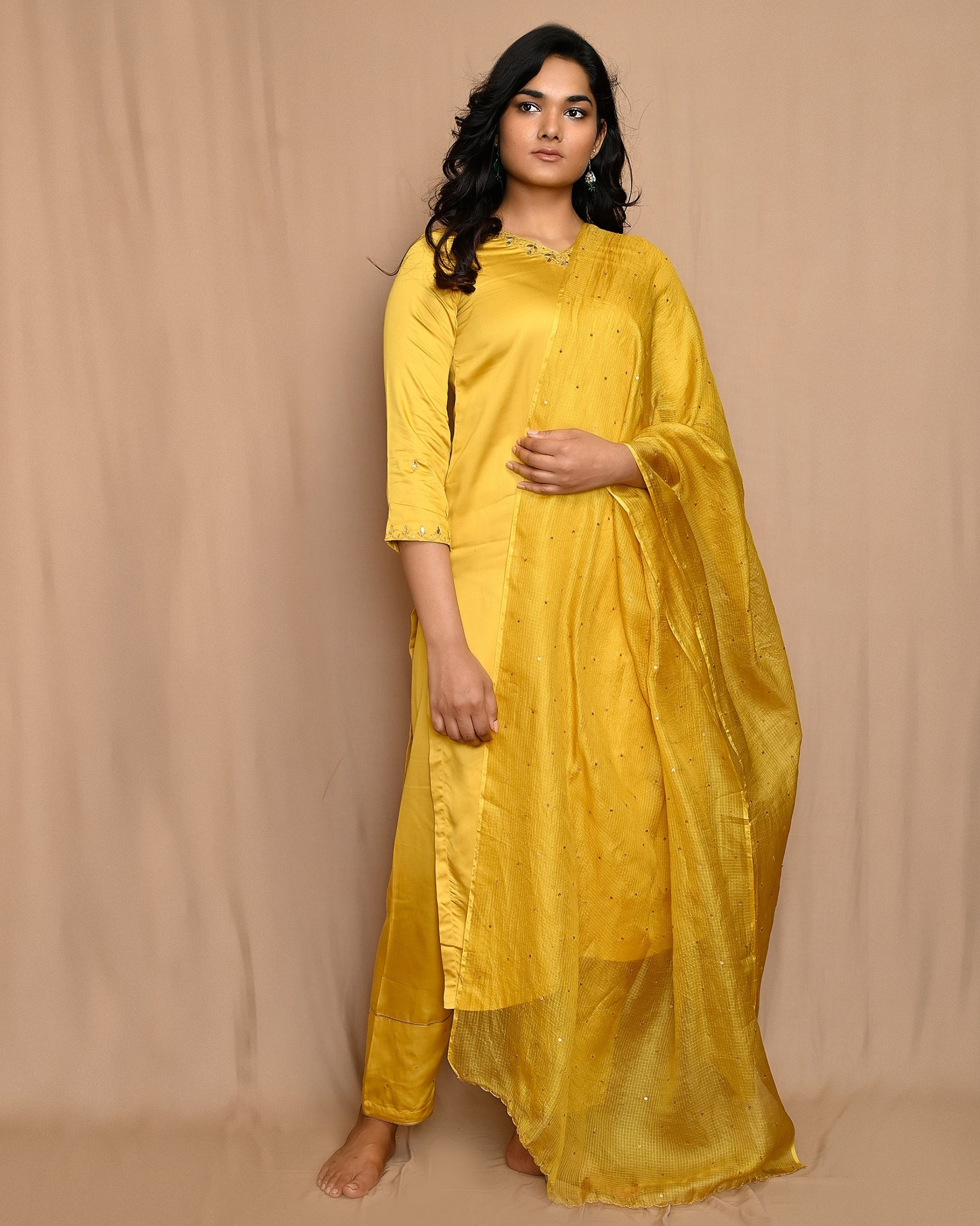 Yellow embroidered modal silk kurta and pants with dupatta - Set Of Three