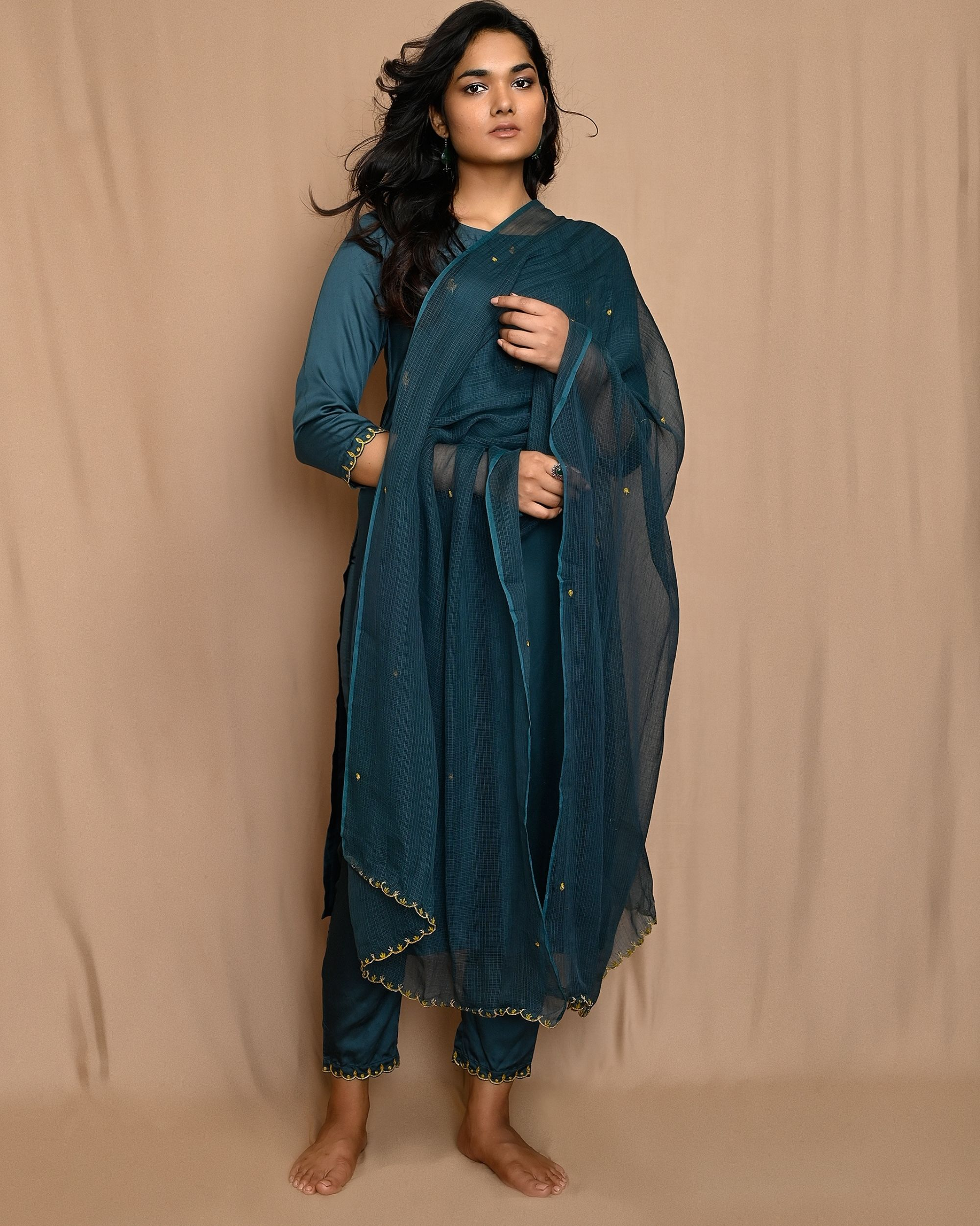 Teal green embroidered kurta with pants and scalloped dupatta - Set Of Three