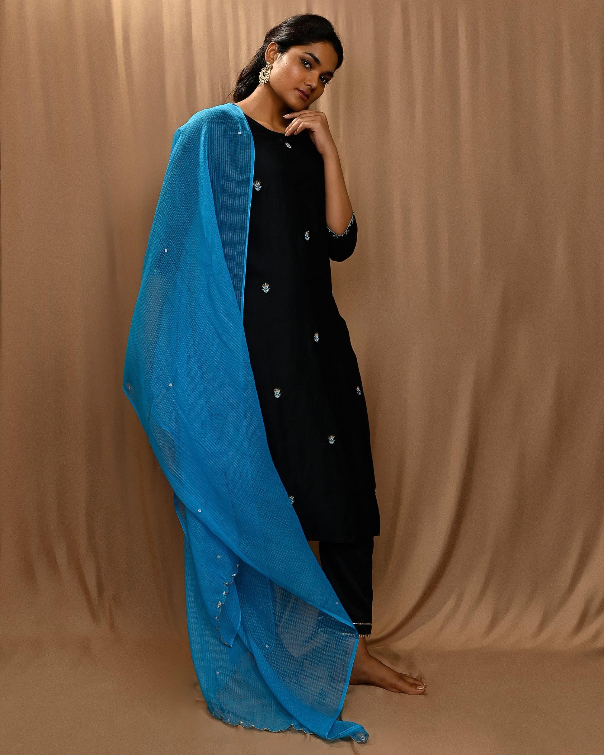 Black embroidered kurta with gota pants and kota doria dupatta - Set Of Three