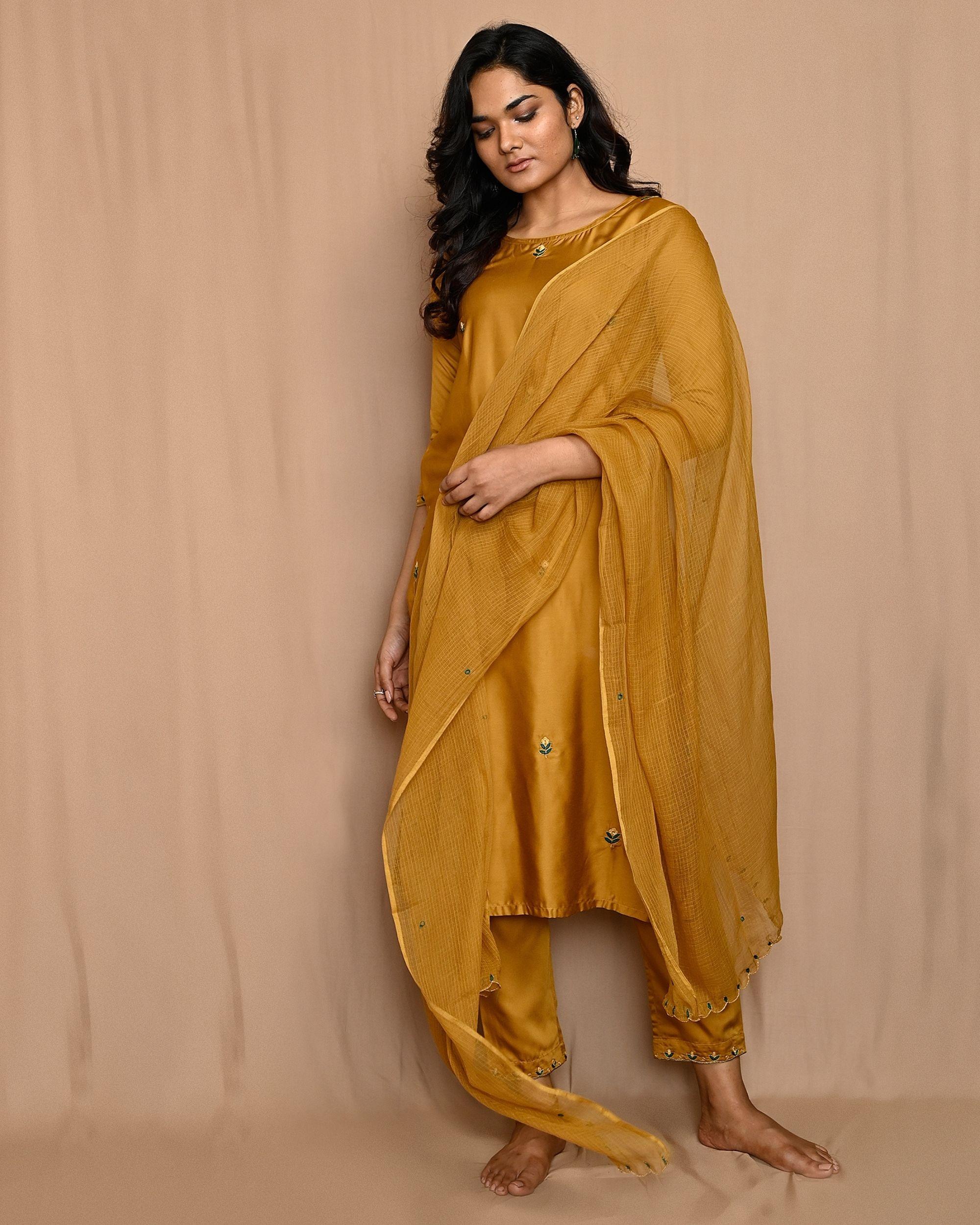 Mustard yellow embroidered kurta with straight pants and dupatta - Set Of Three