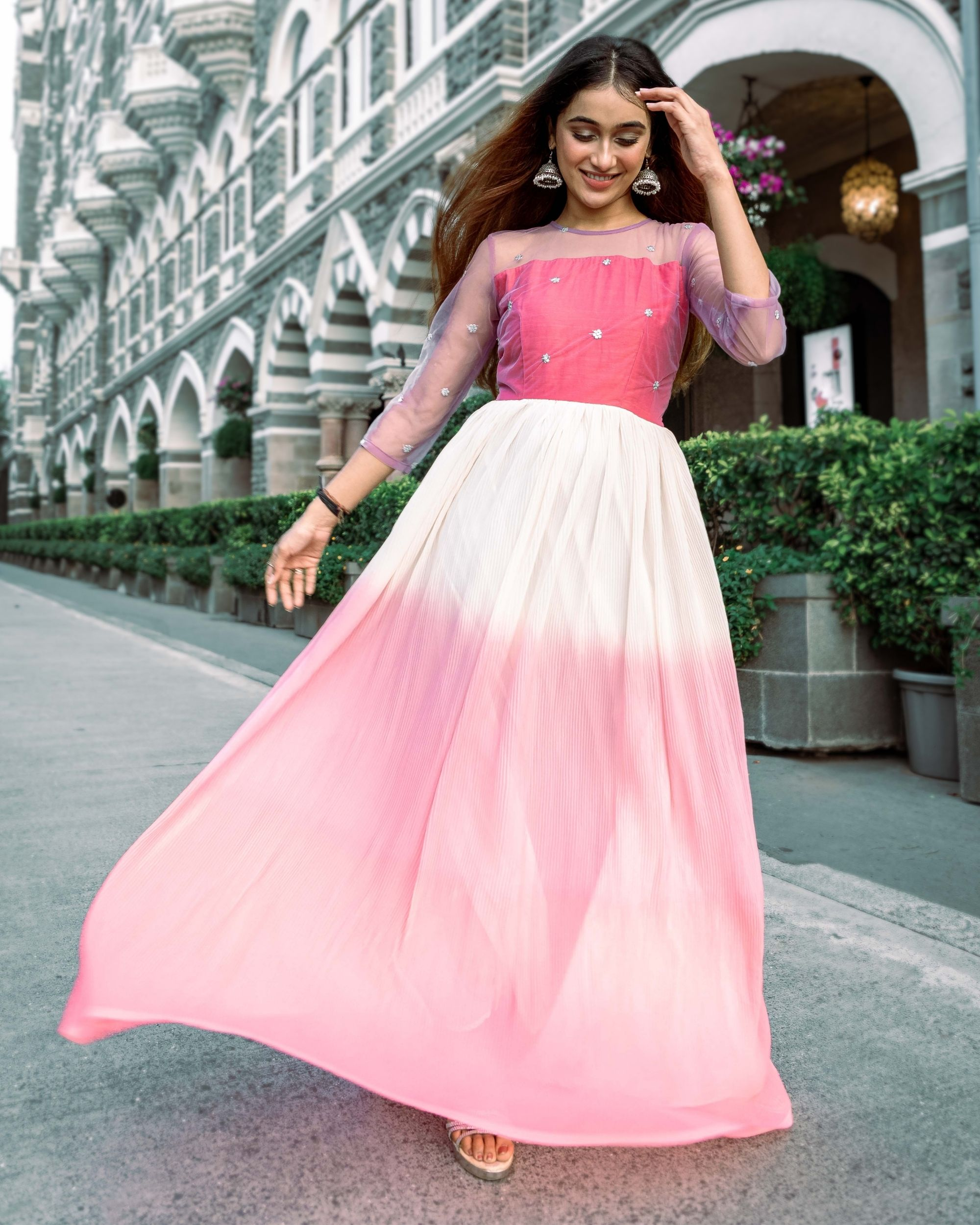 Ombre pink fan pleated dress