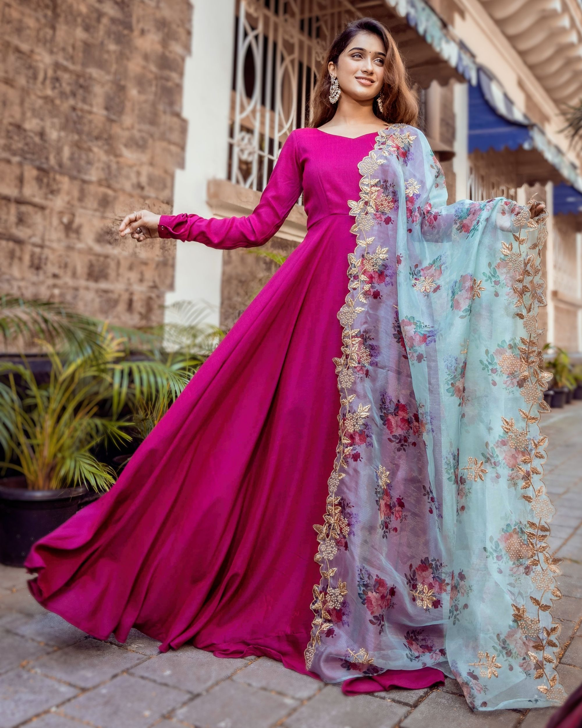 Dual toned flared anarkali dress with floral organza dupatta - Set Of Two