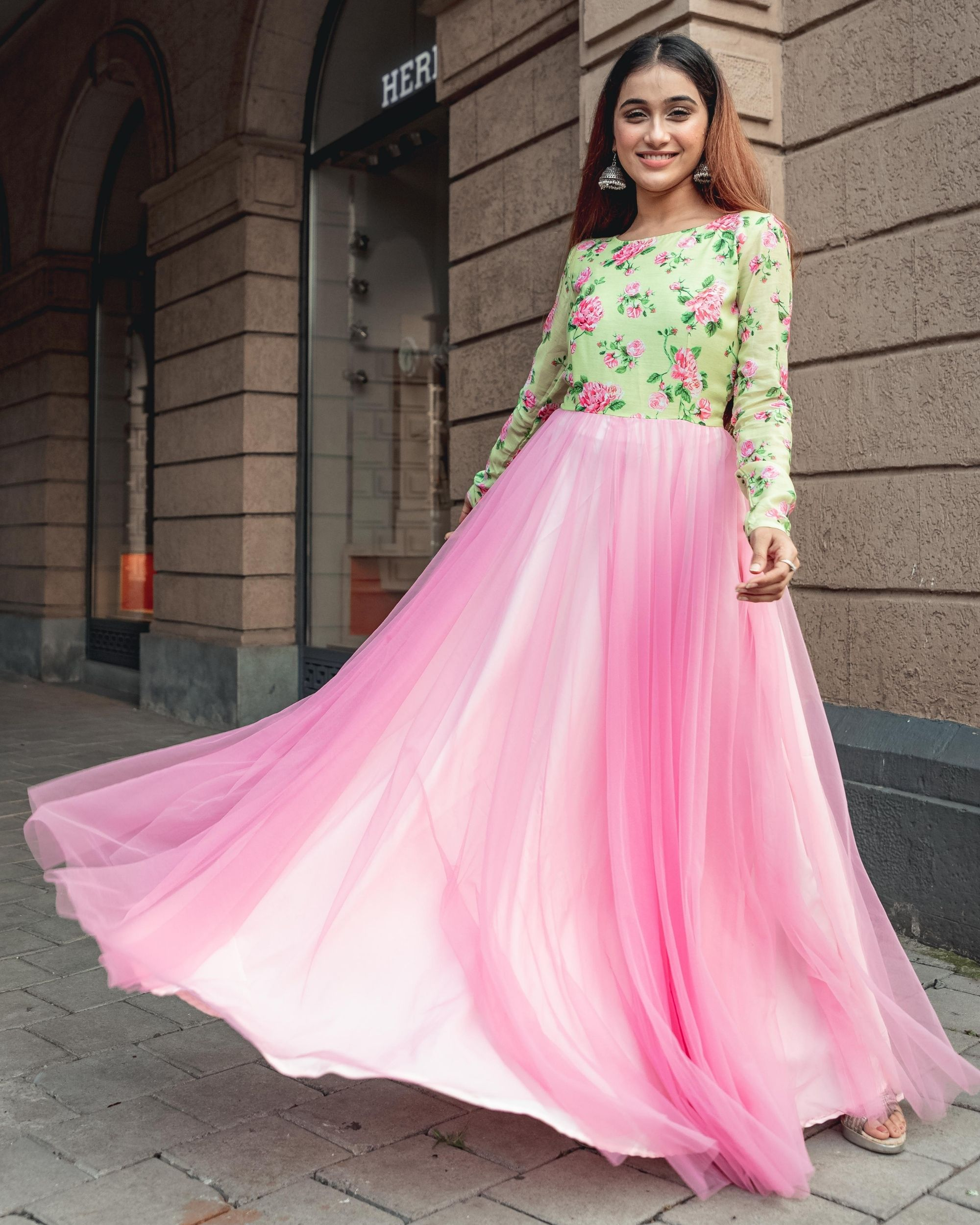 Green and baby pink floral printed net dress