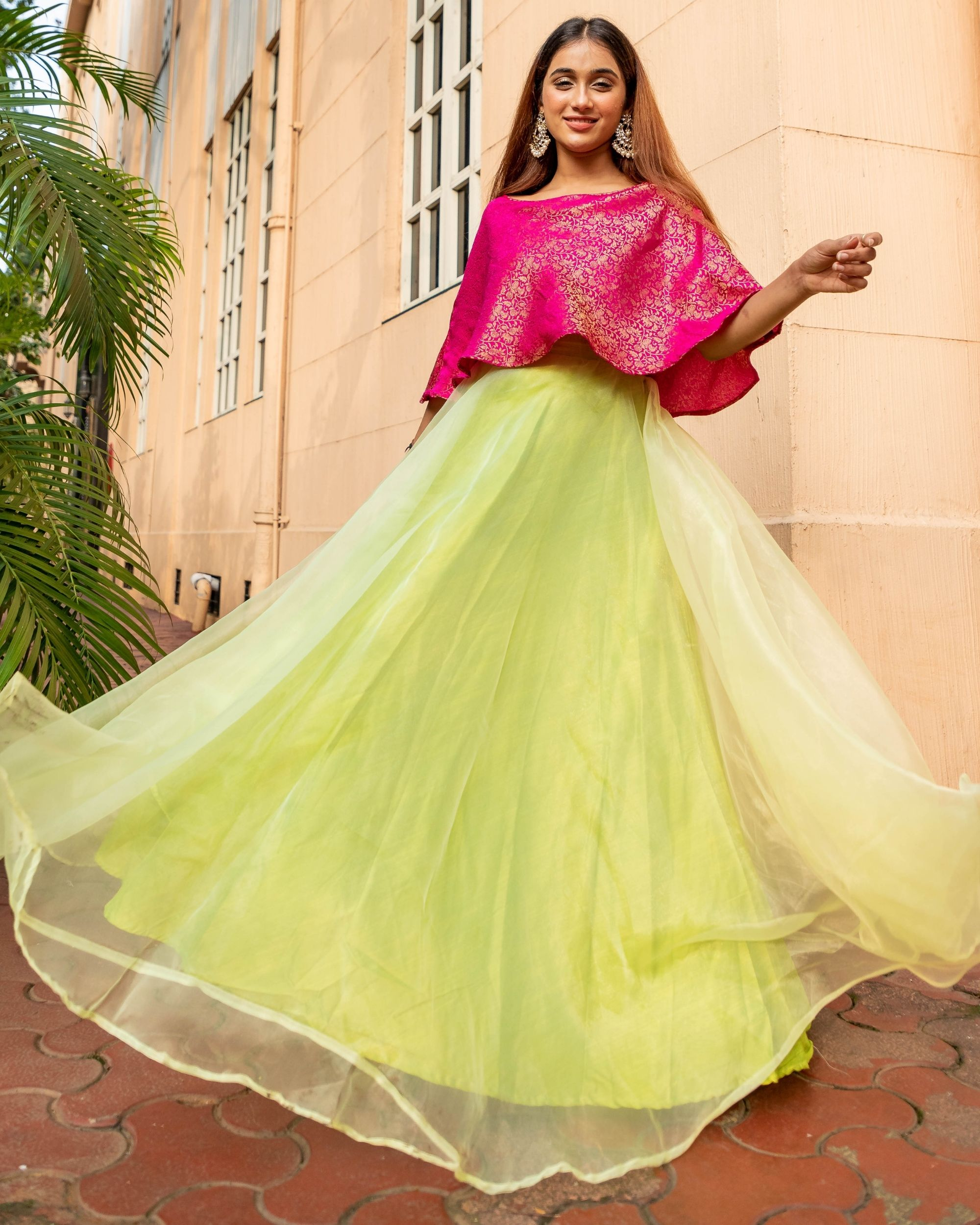 Rani pink and lime green floral jaal off shoulder flared dress