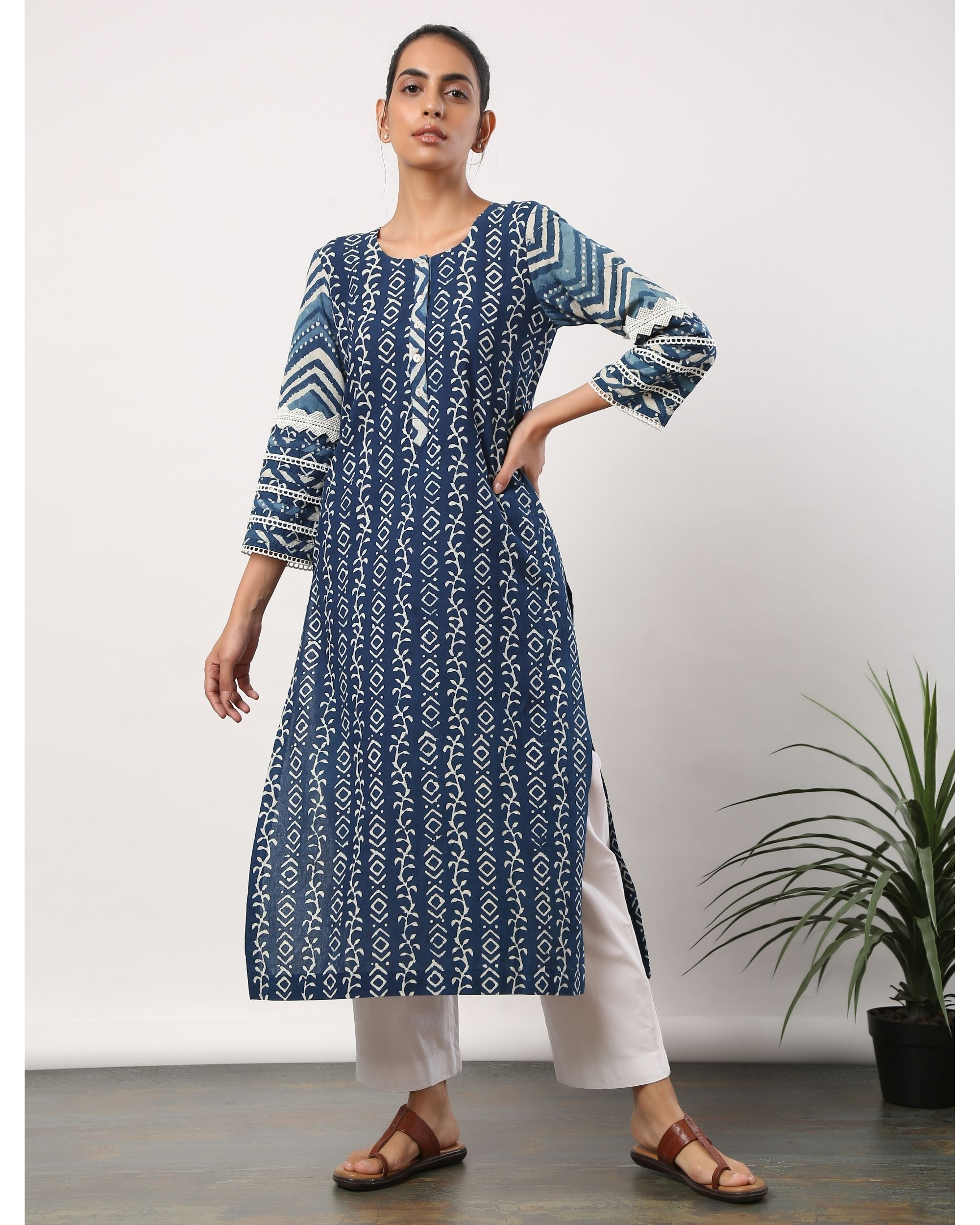 Indigo printed straight kurta with lace detailing