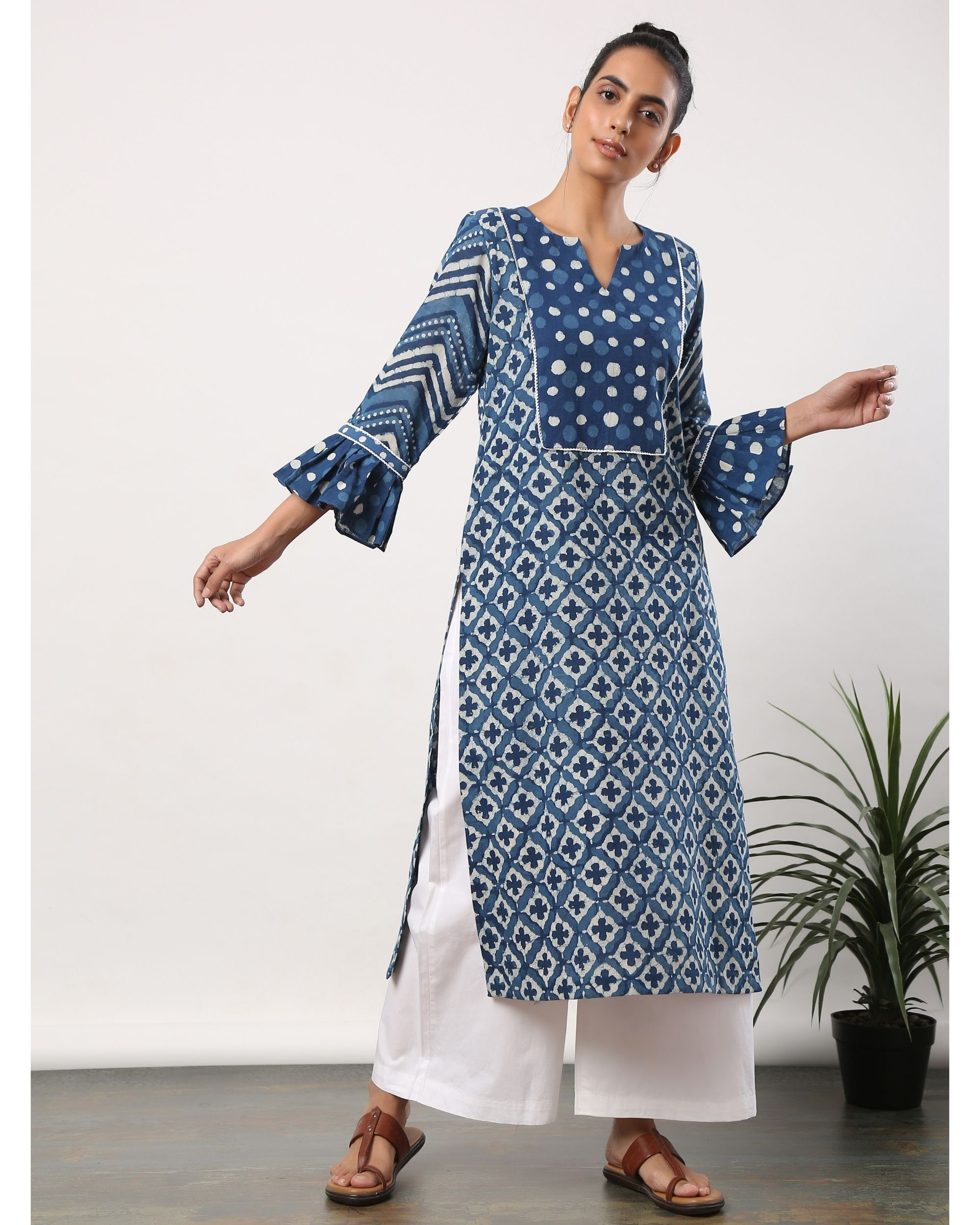 Indigo motif printed yoke kurta with frilled sleeves