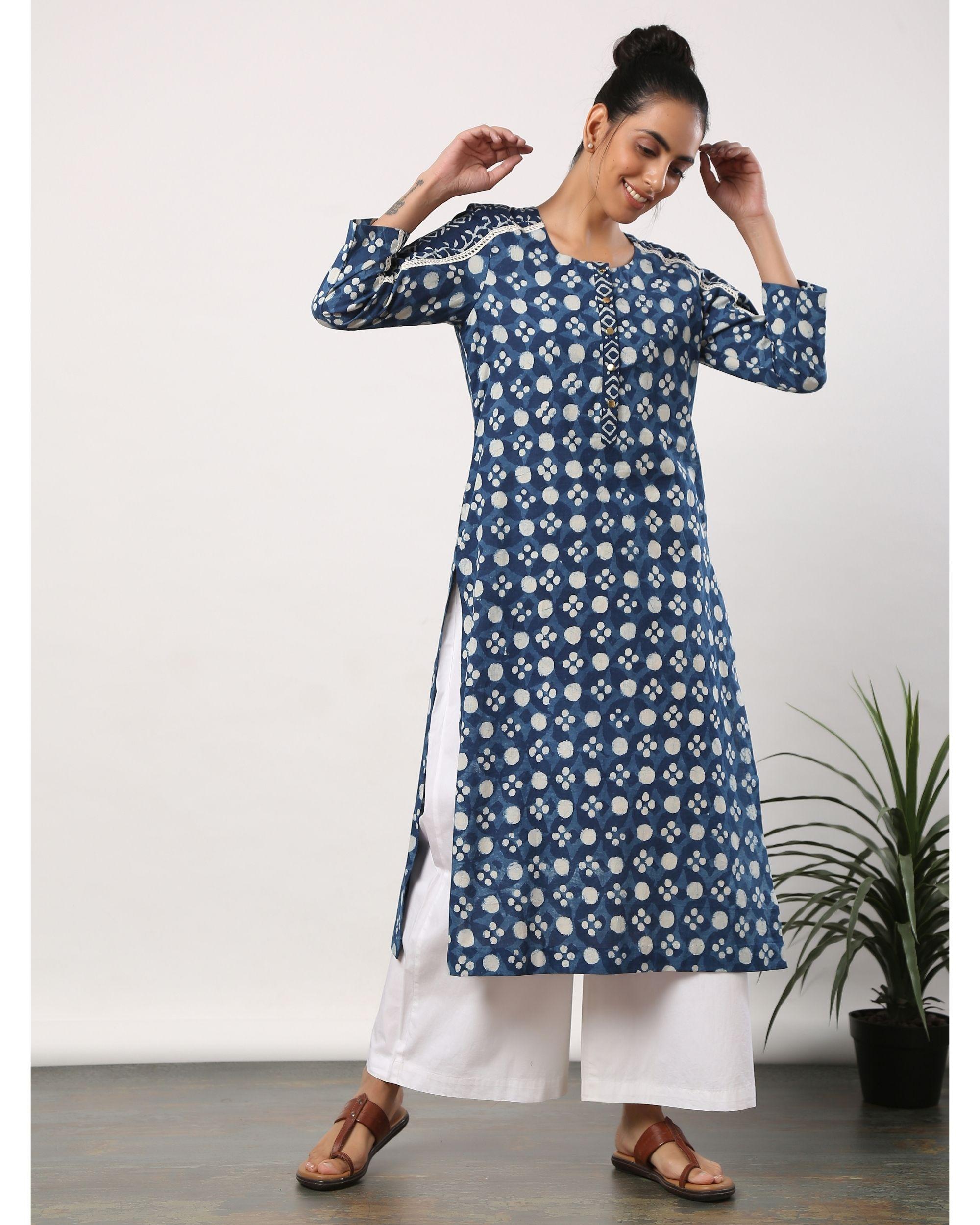 Indigo and white printed lace kurta