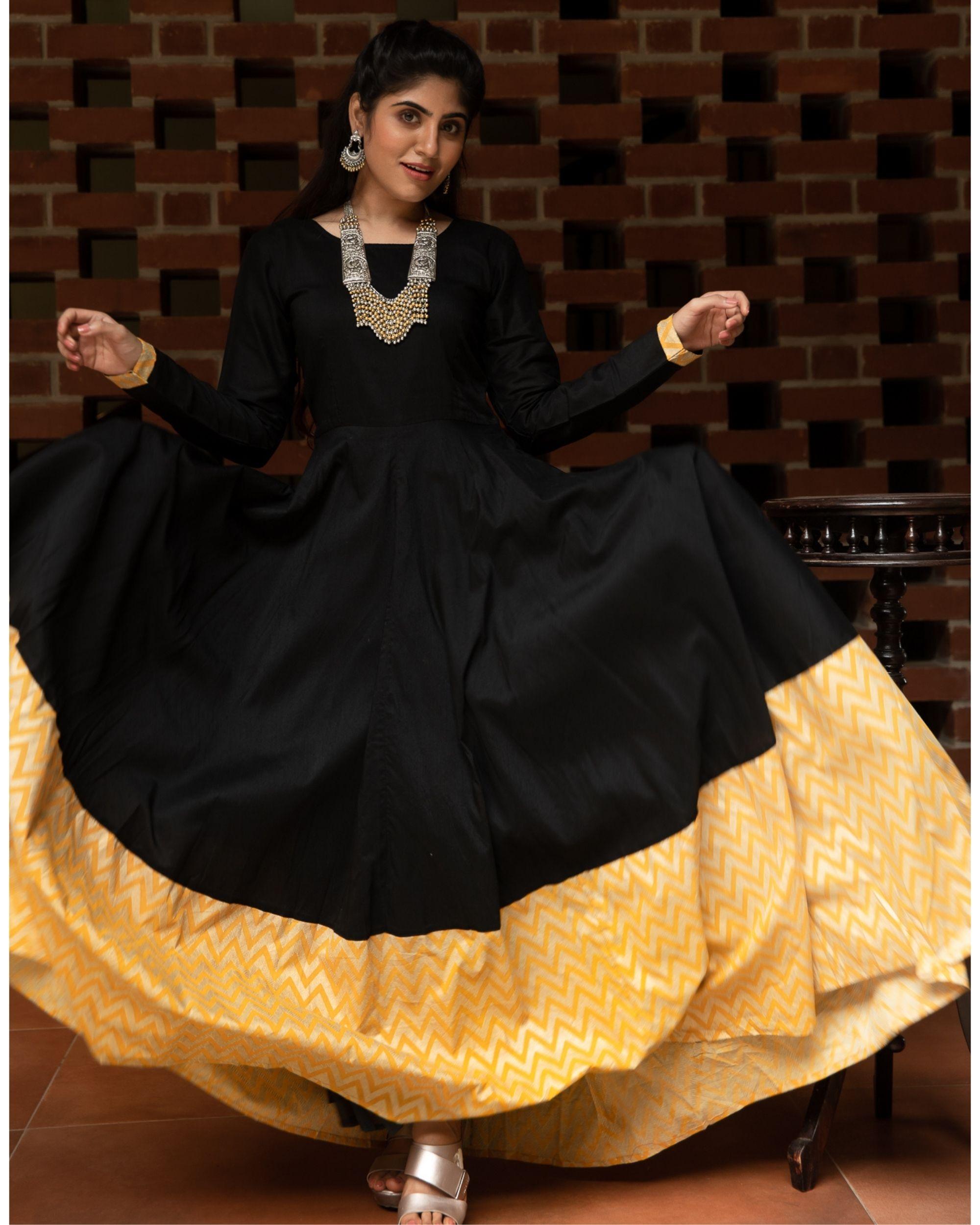 Black and yellow zig zag paneled dress