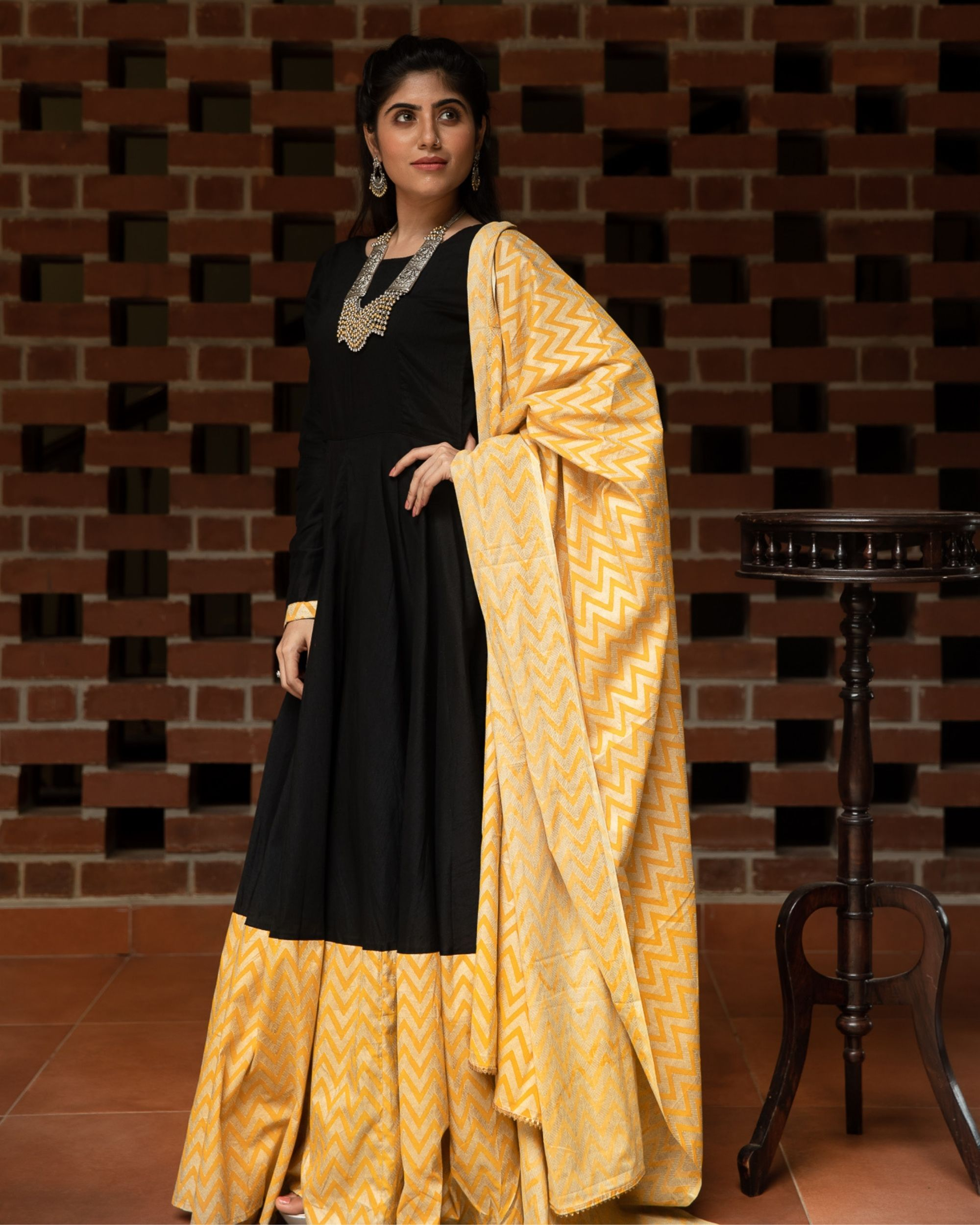 Black and yellow zig zag paneled dress with dupatta - Set Of Two