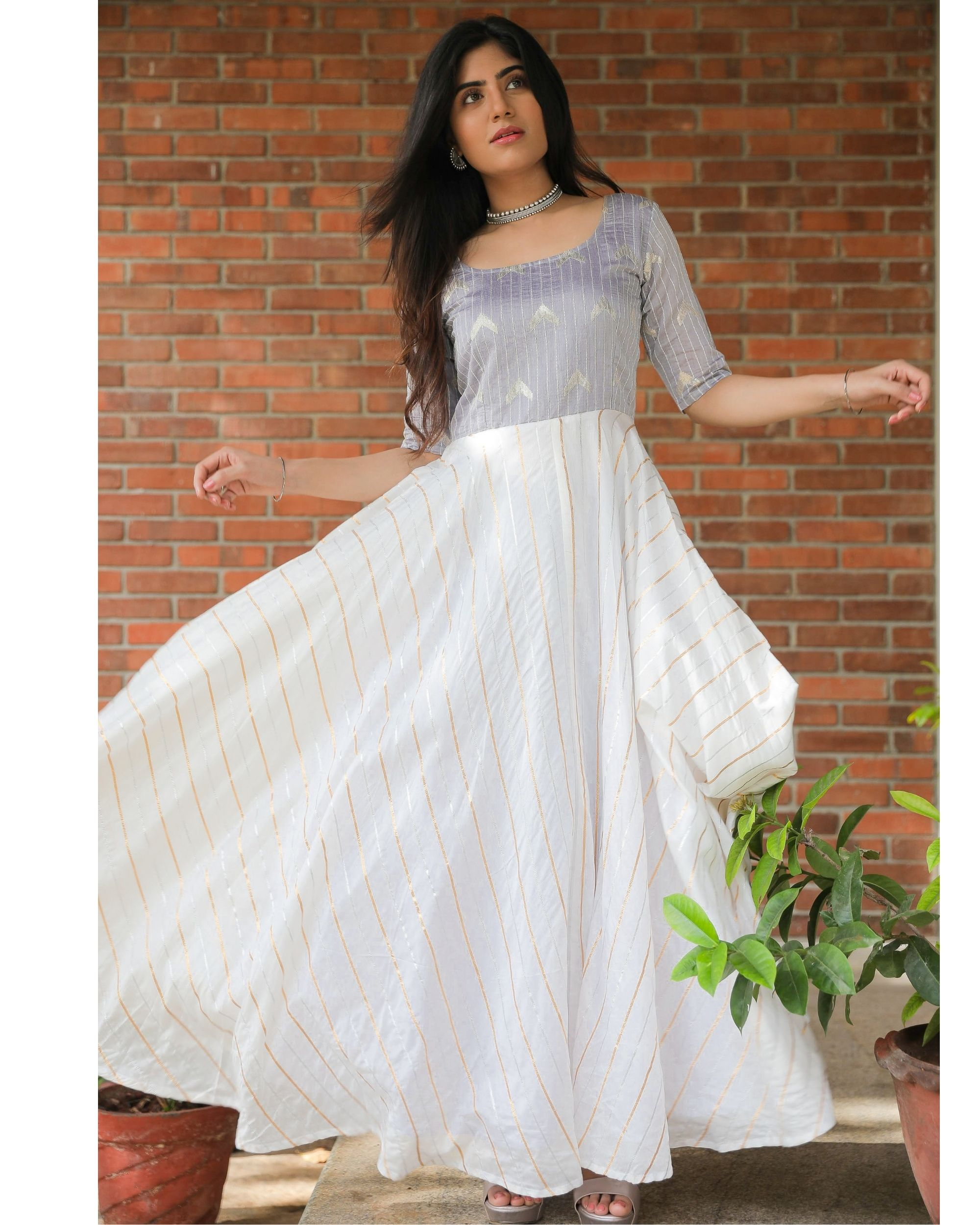 Light grey and off white sequined flared dress