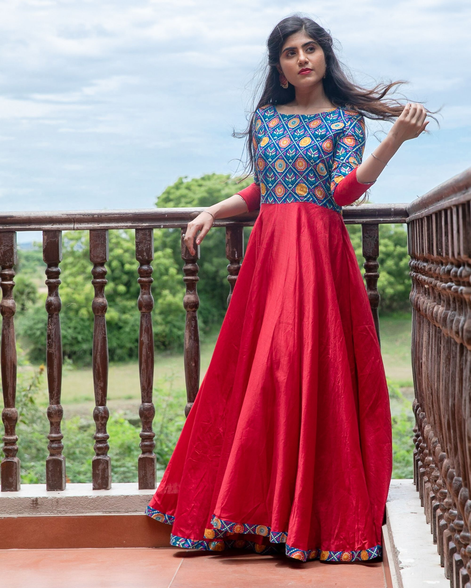 Red and blue patola printed flared dress