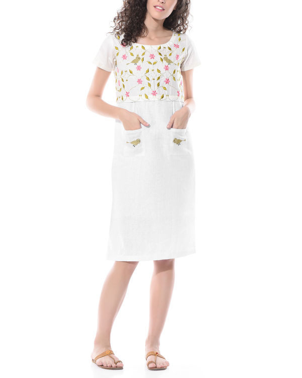 Linen bird embroidered dress