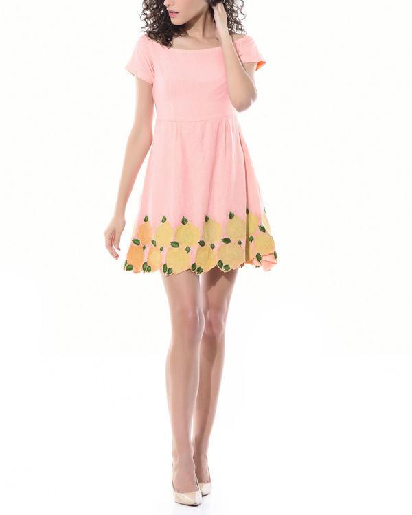Off shoulder floral linen dress