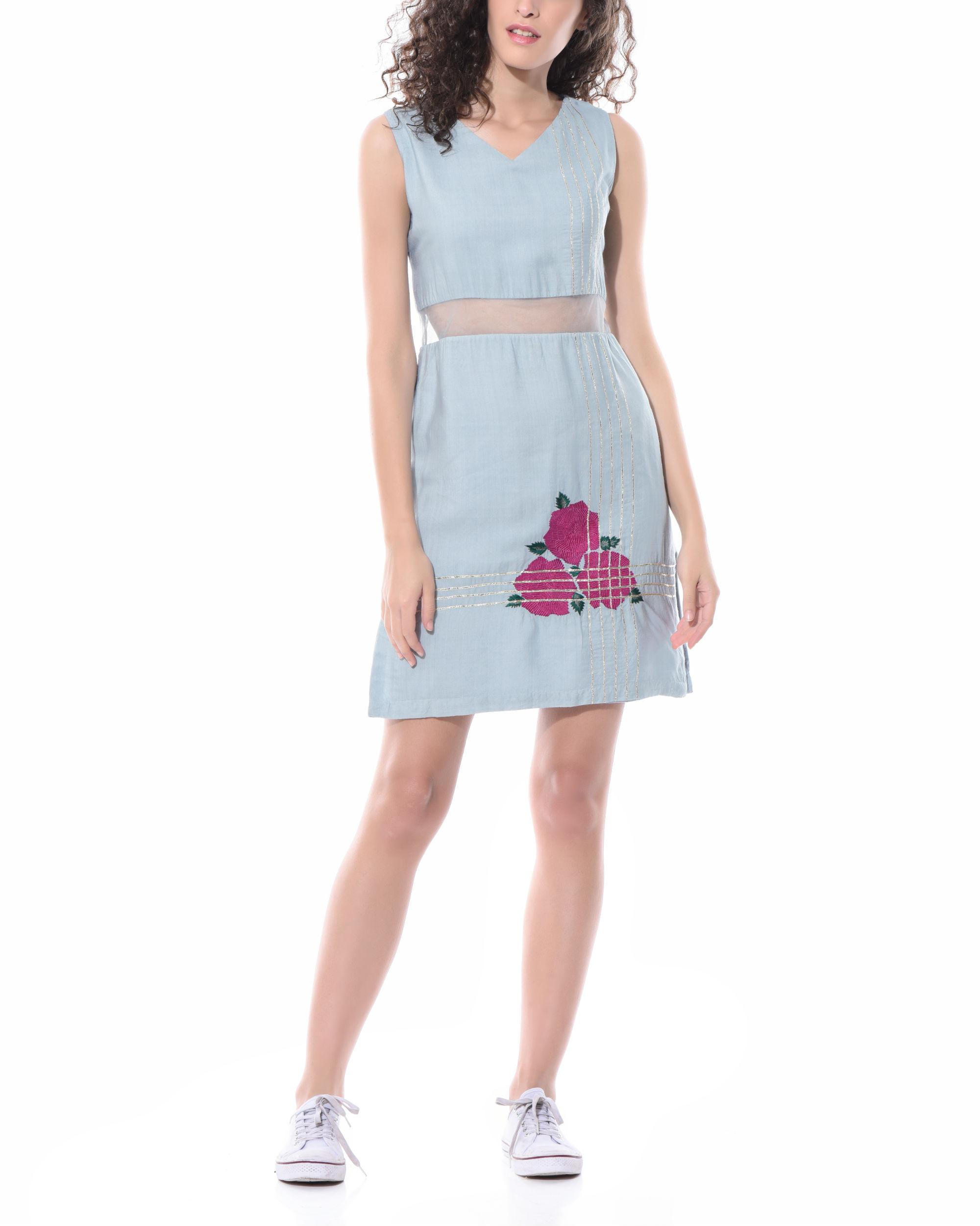 Linen peek-a-boo dress
