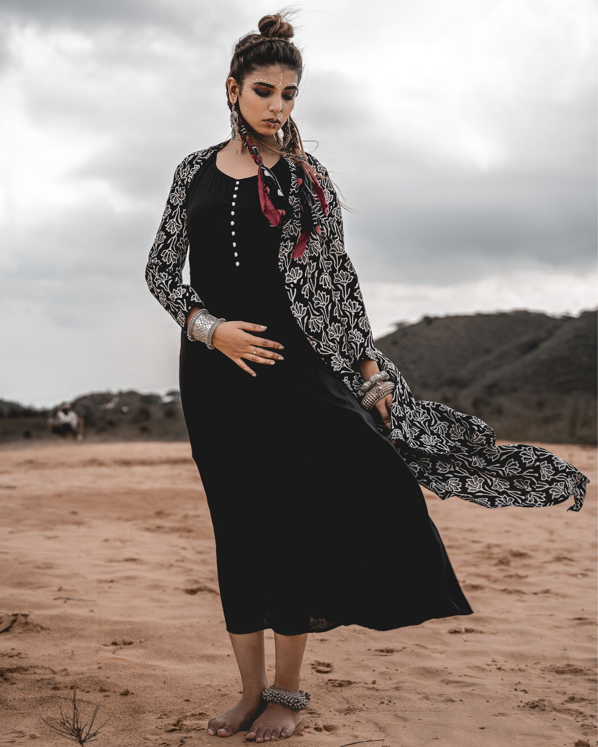 Asymmetric block printed cape with inner - set of two