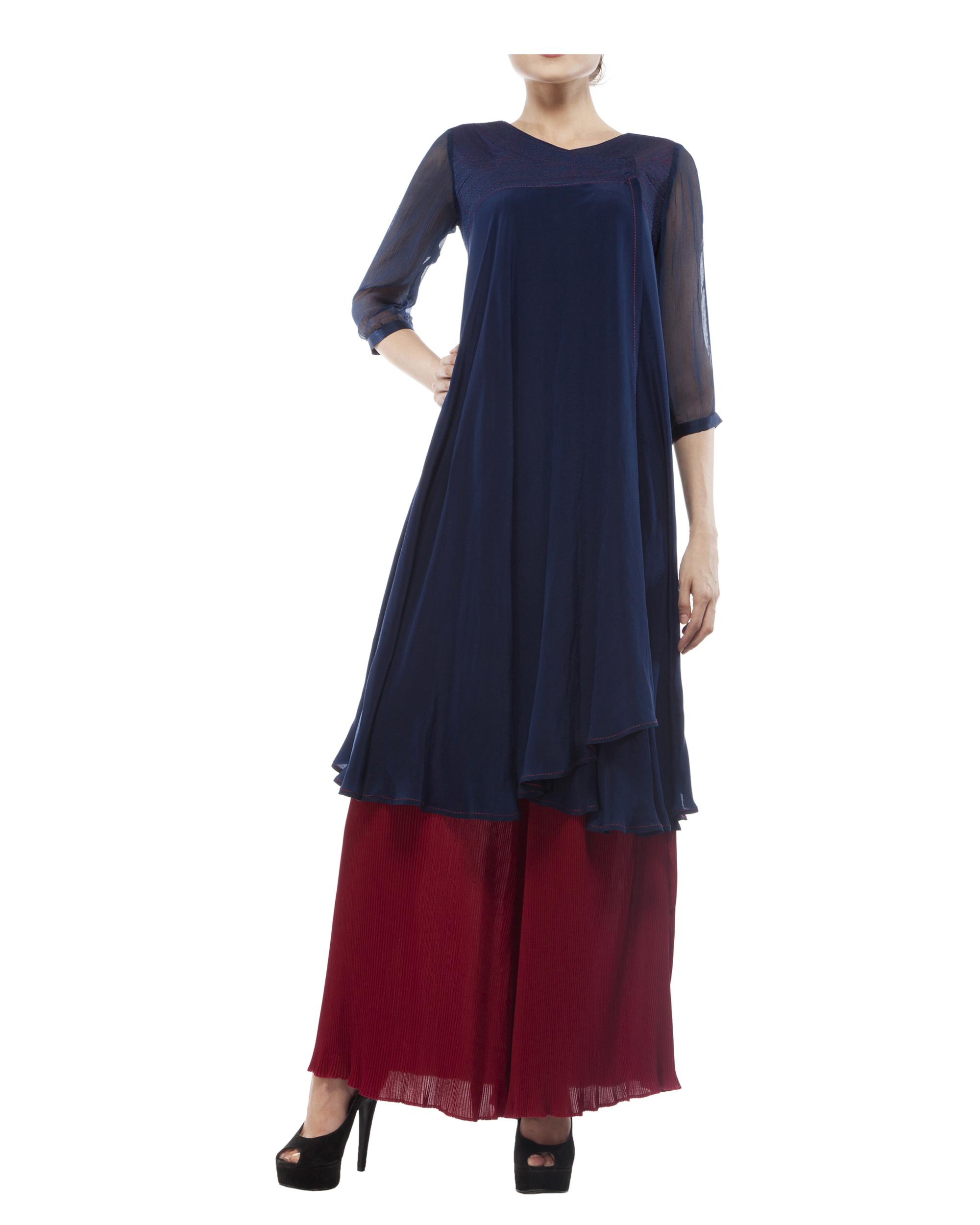 Silk crepe blue printed tunic