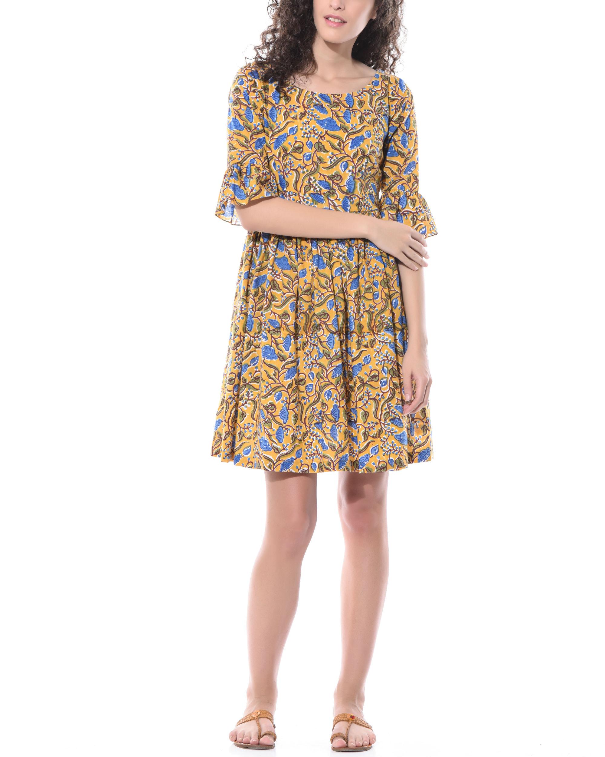 Hand printed floral dress