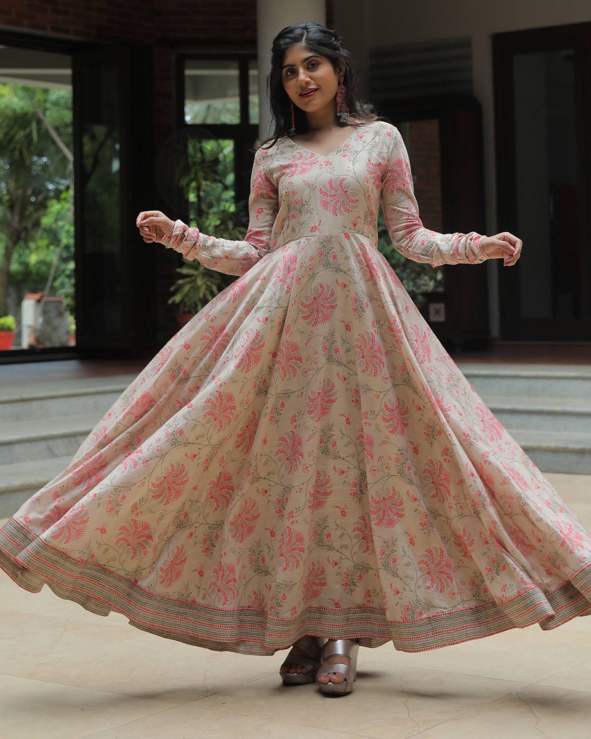 Beige and pink floral jaal printed chanderi dress