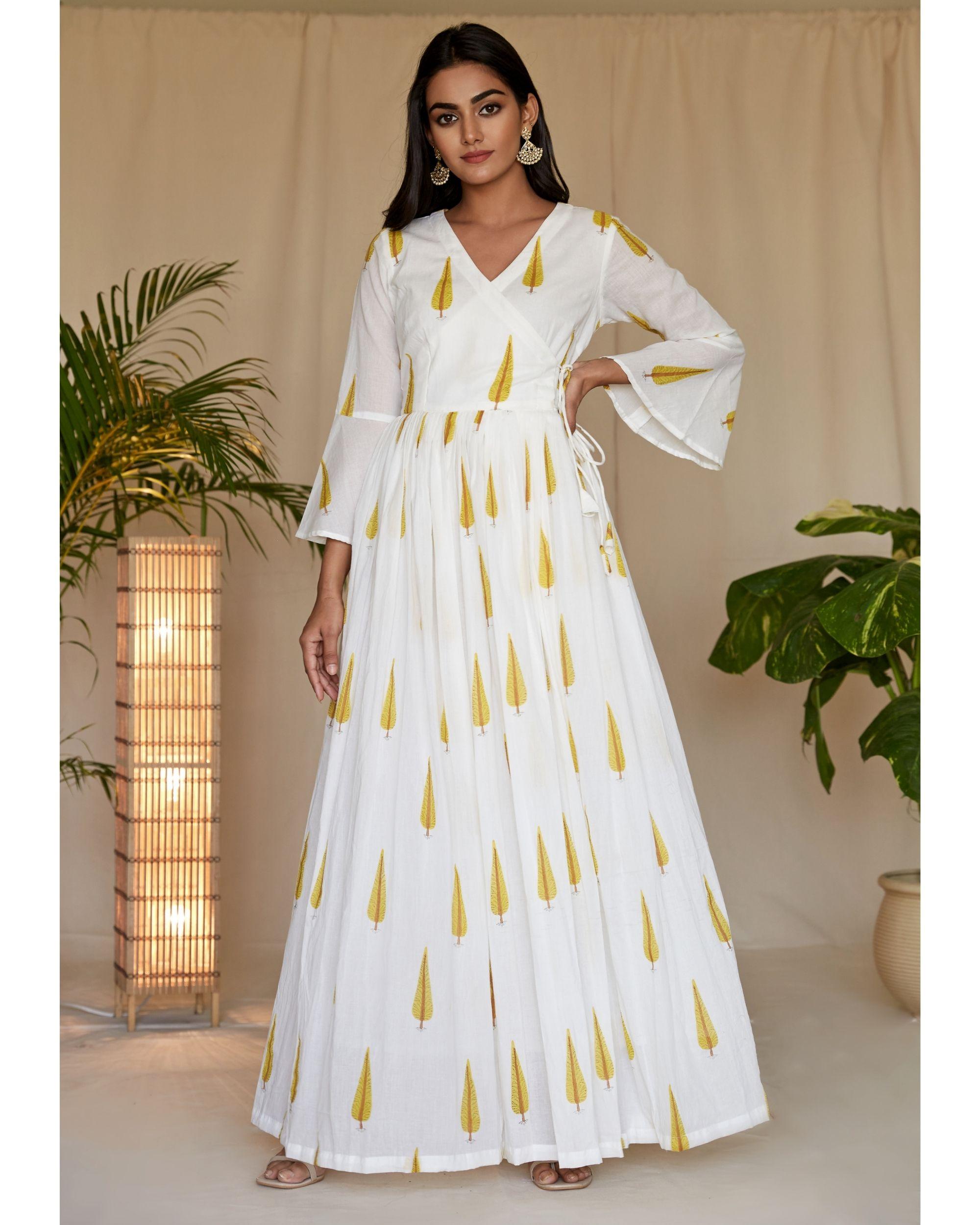 Yellow leaf printed angrakha dress