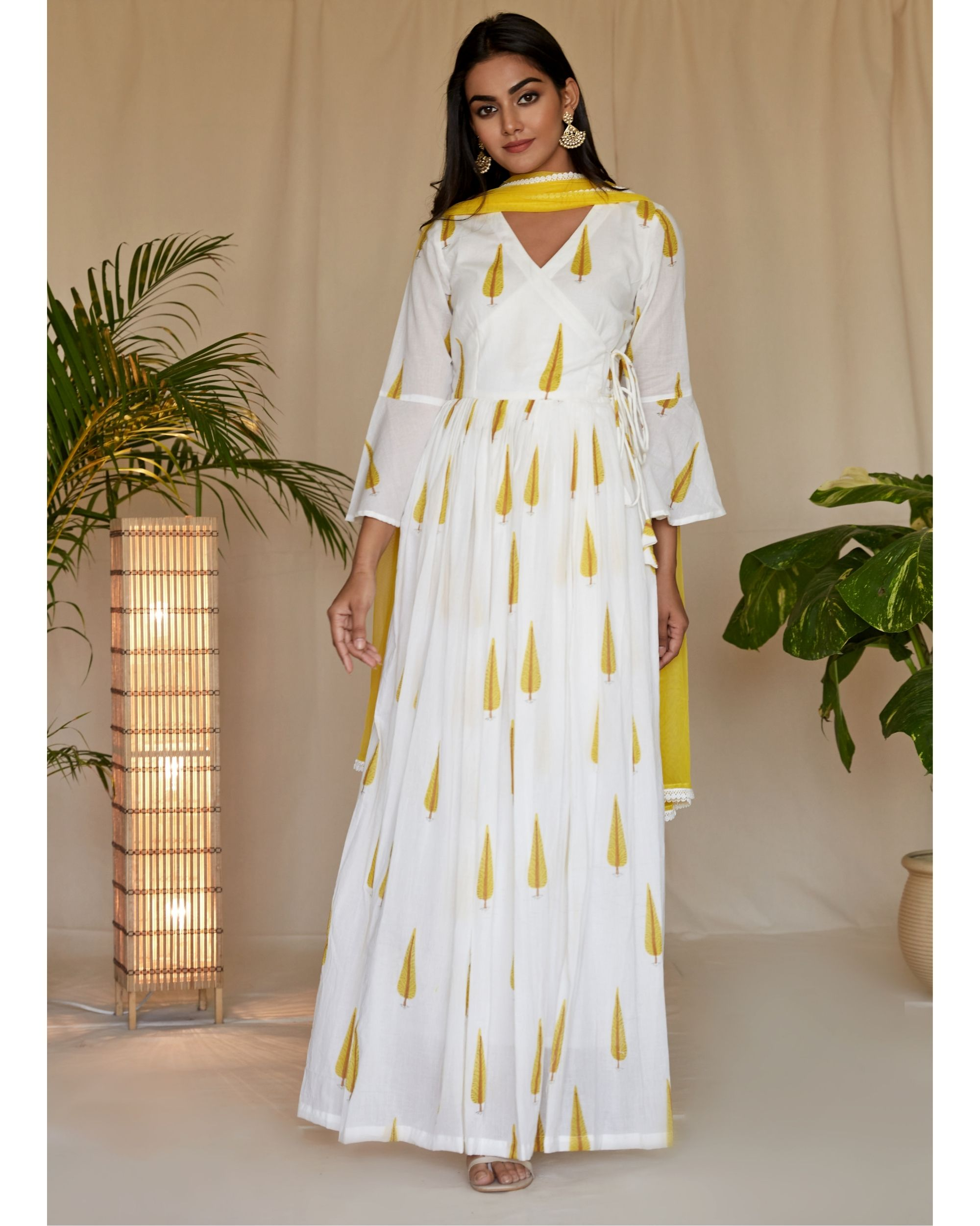 Yellow leaf printed angrakha dress and net dupatta - Set Of Two