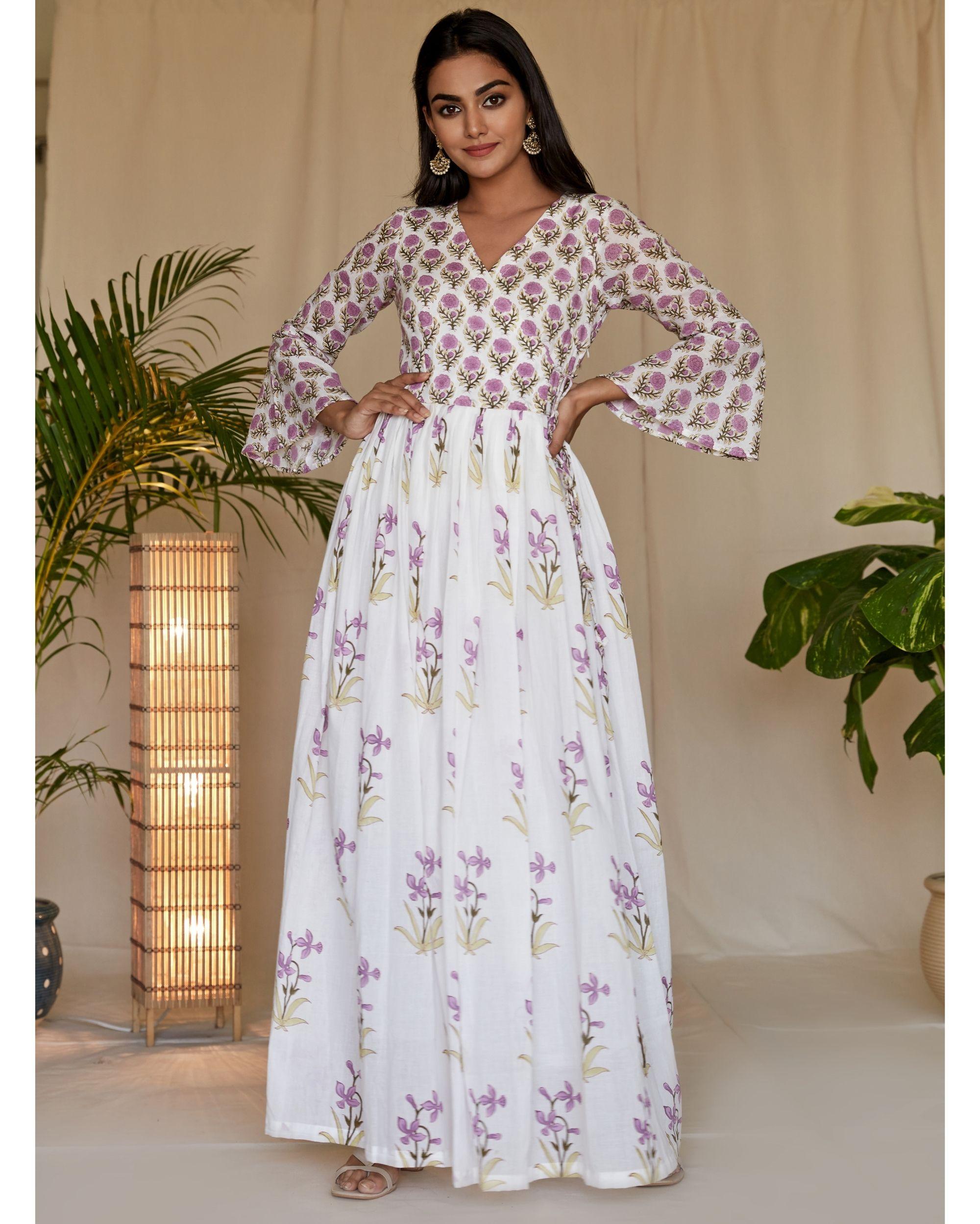 Lilac lily block printed angrakha dress