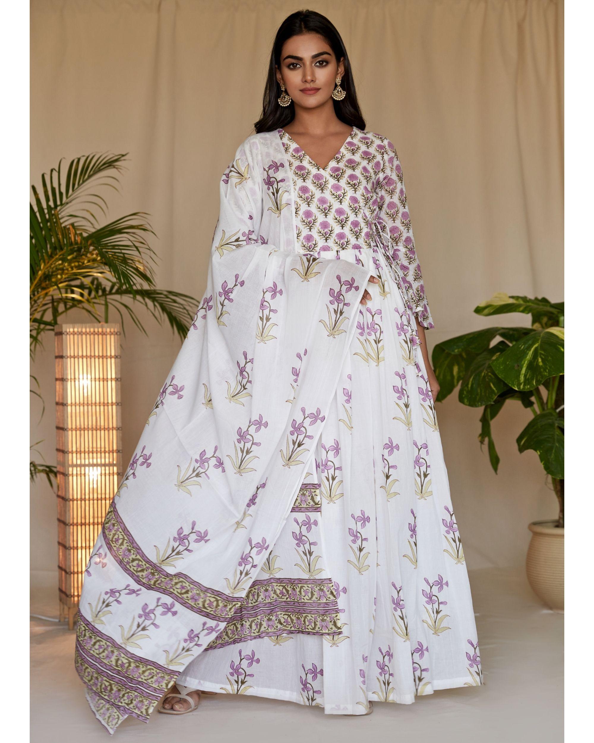 Lilac lily block printed angrakha dress with dupatta - Set Of Two