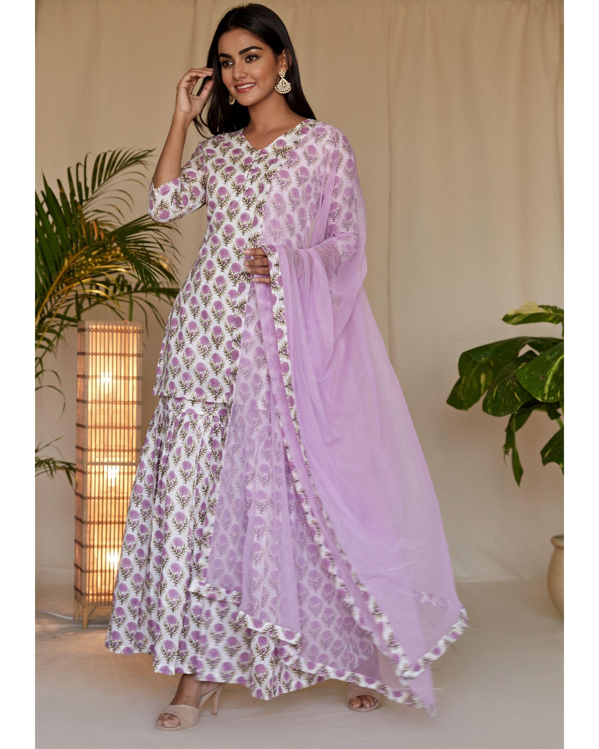 Lilac floral block printed kurta and sharara with dupatta - Set Of Three