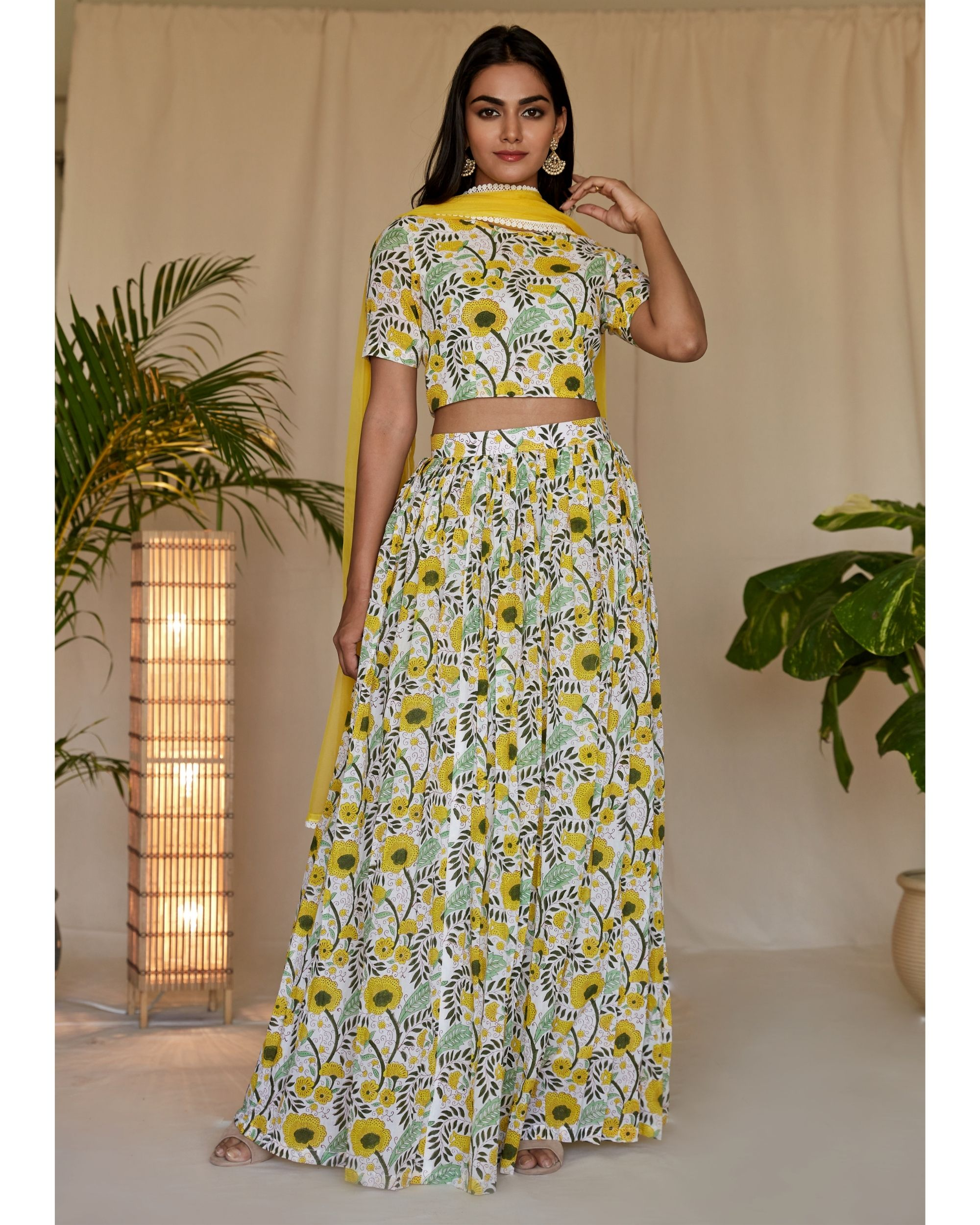 Yellow floral printed crop top and lehenga with dupatta - Set Of Three