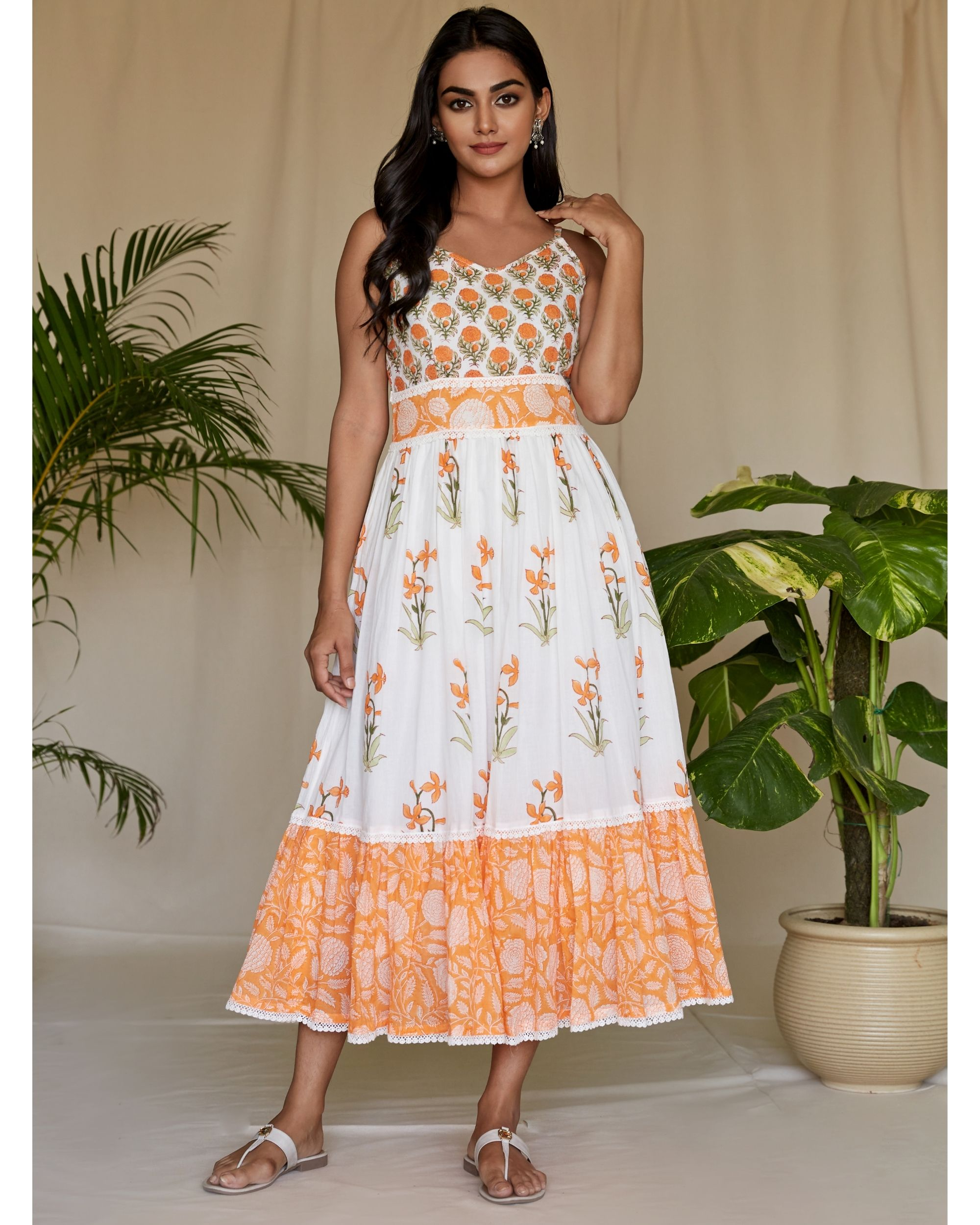 Tangerine floral printed tiered maxi dress