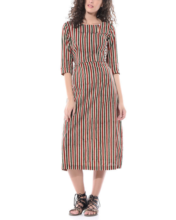 Striped hand printed dress