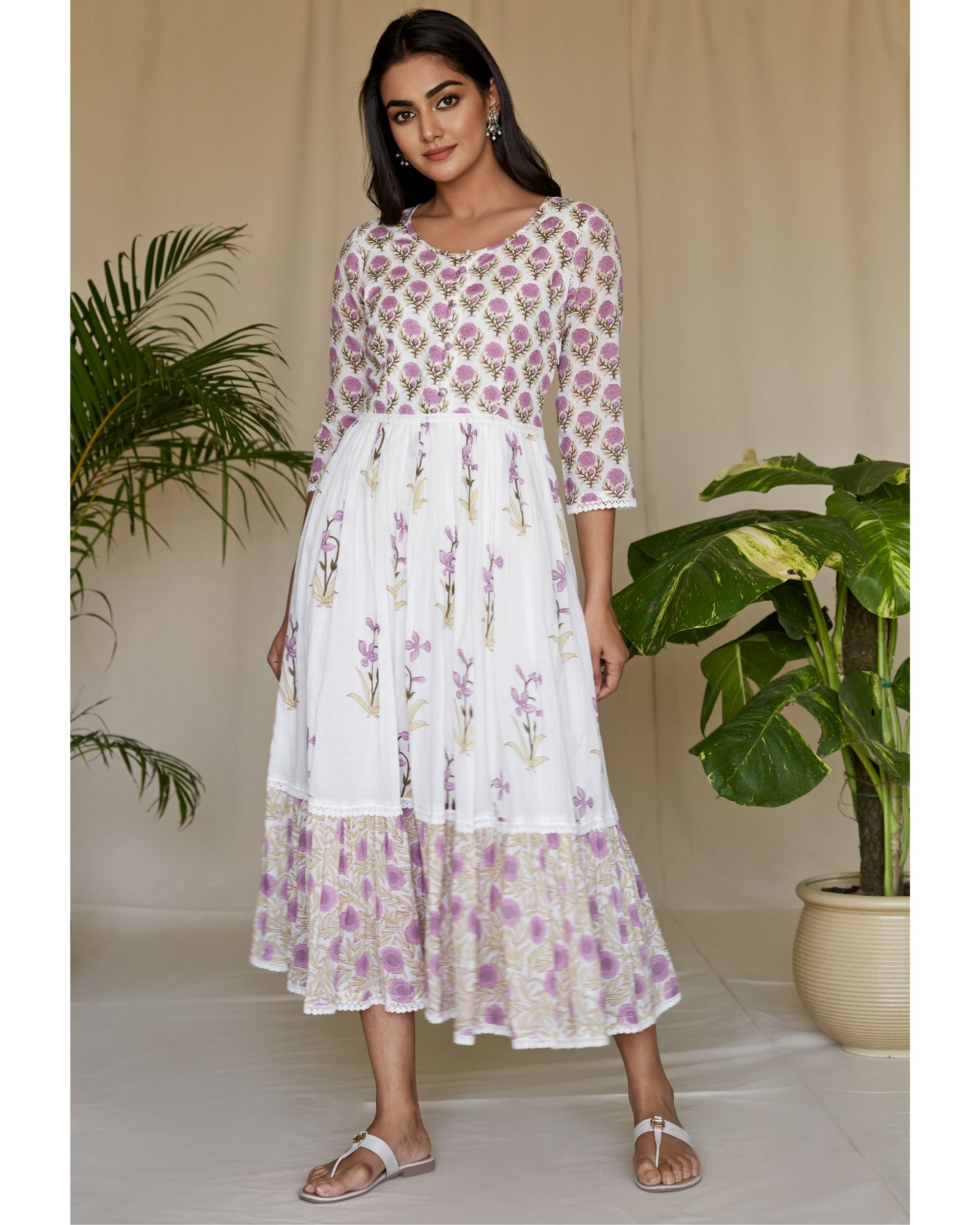 Lilac floral printed tiered maxi dress