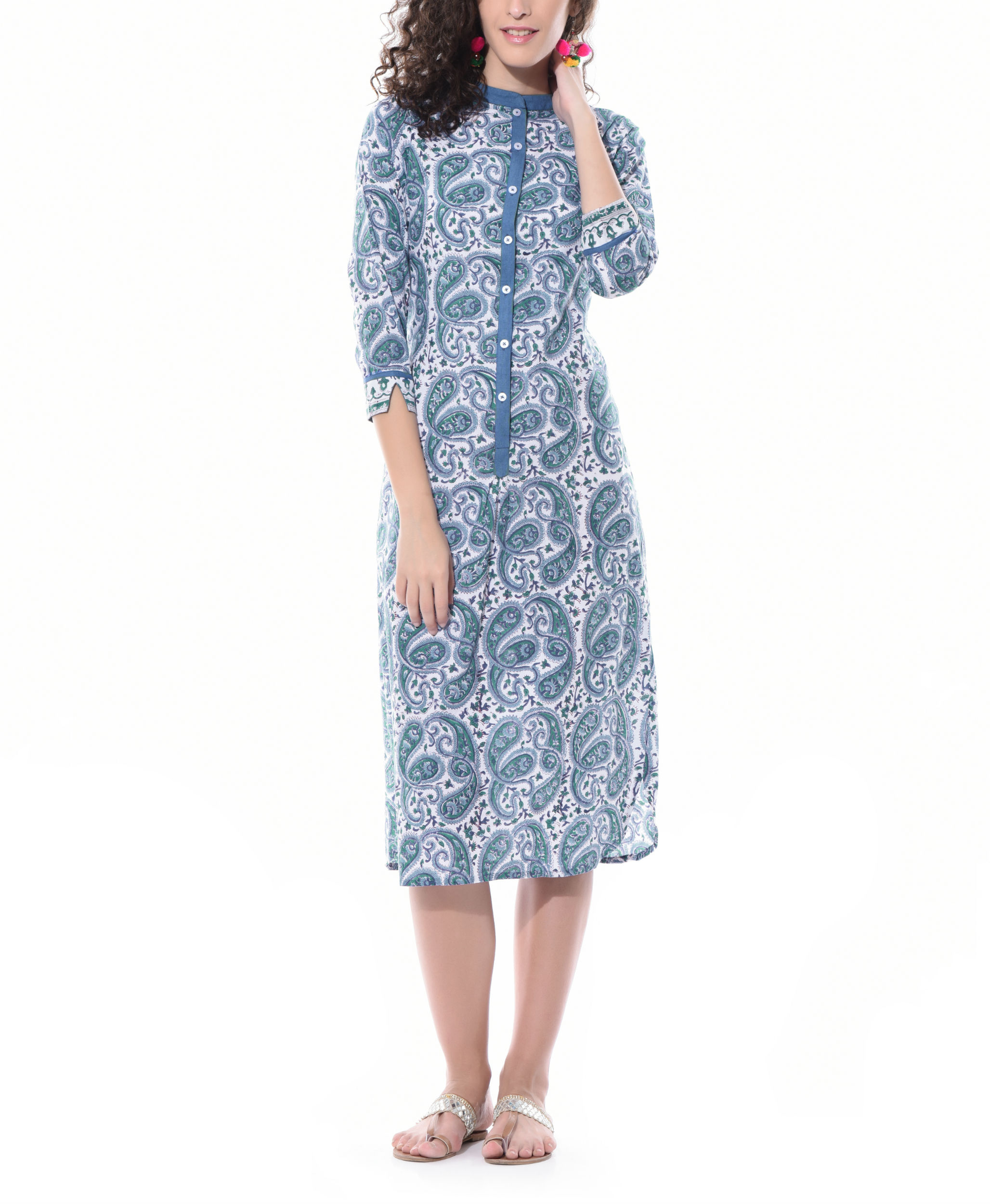 Paisley hand printed dress