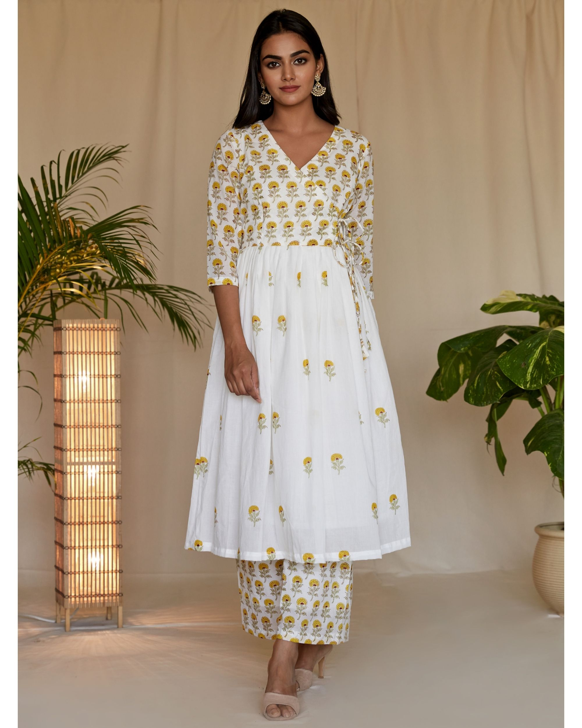 Yellow floral block printed angrakha kurta with palazzo - Set Of Two