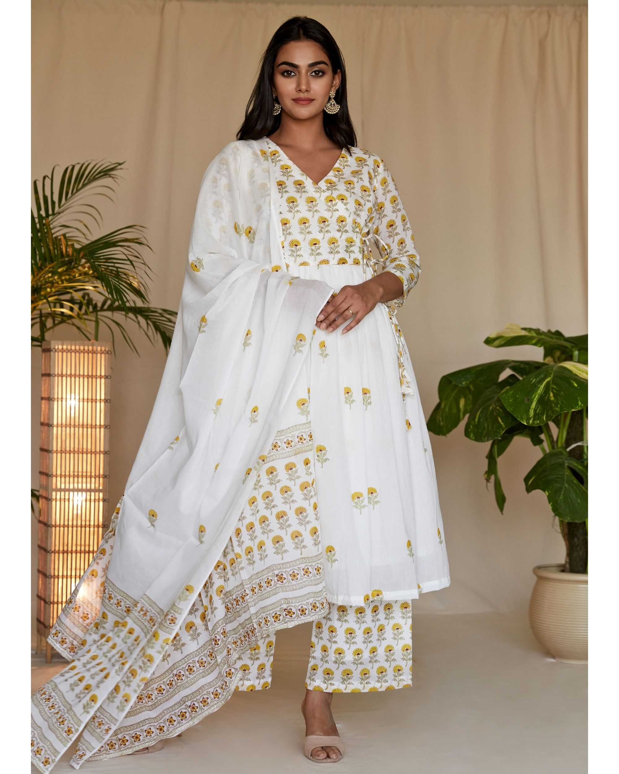 Yellow floral printed angrakha kurta with palazzo and dupatta - Set Of Three