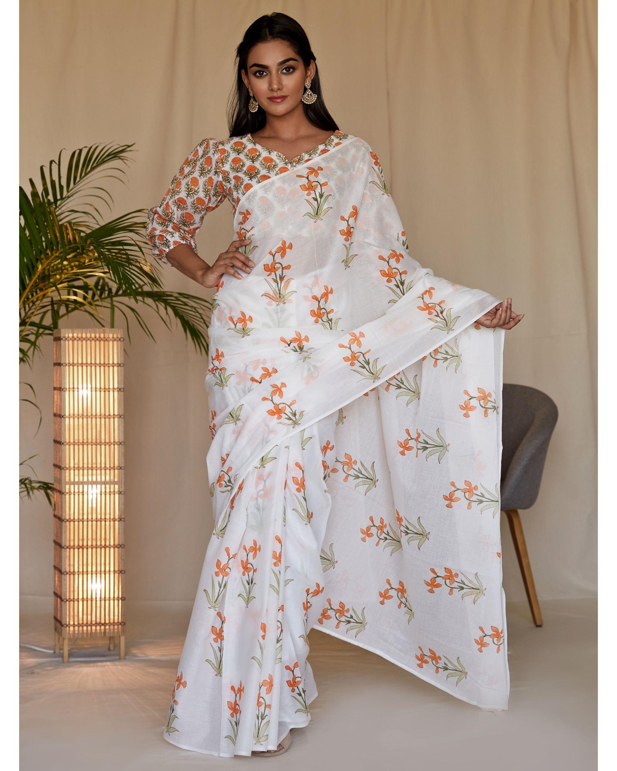 Tangerine lily block printed sari